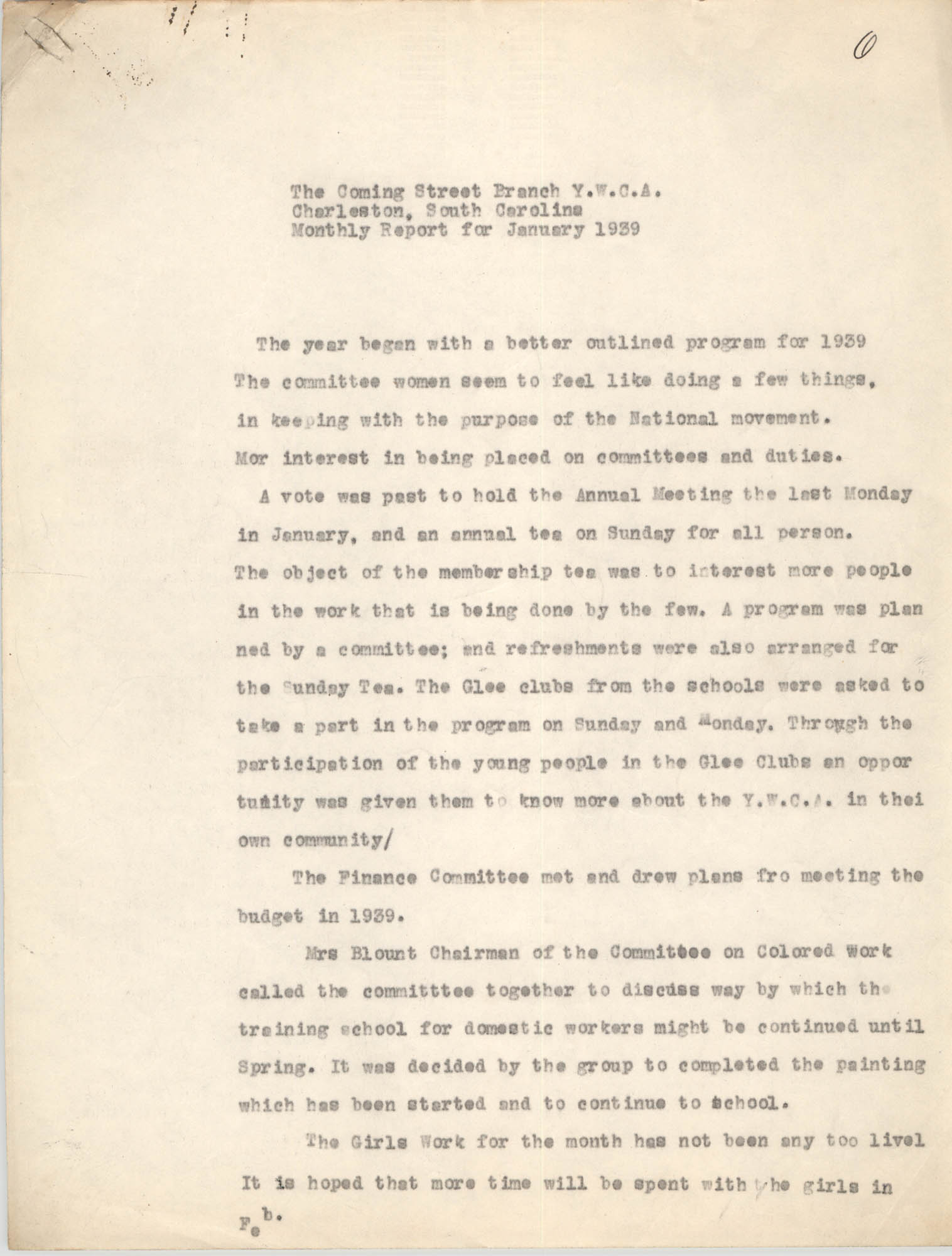 Monthly Report for the Coming Street Y.W.C.A., January 1939