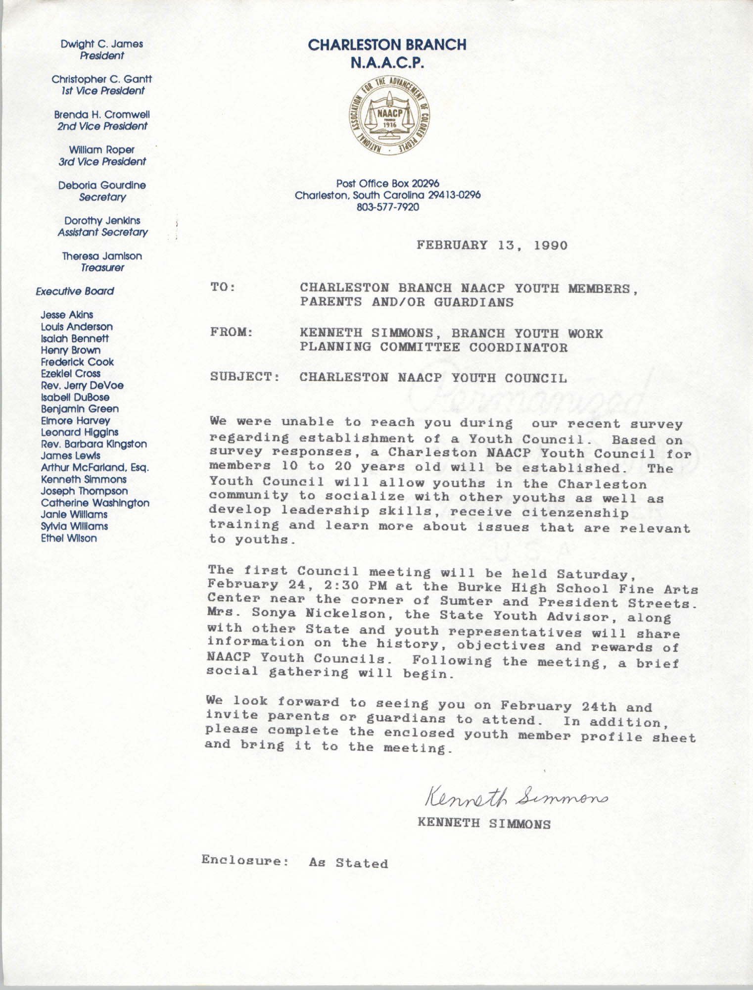 Letter from Kenneth Simmons to Charleston Branch NAACP Youth Members and Guardians, February 13, 1990
