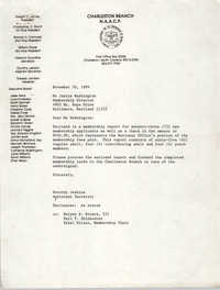 Letter from Dorothy Jenkins to Janice Washington, NAACP, November 30, 1989