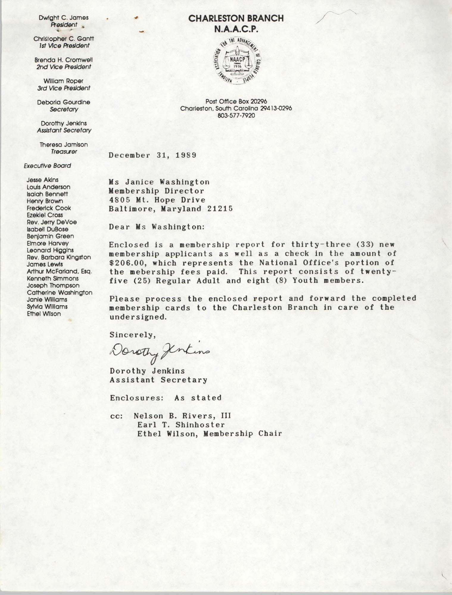 Letter from Dorothy Jenkins to Janice Washington, NAACP, December 30, 1989