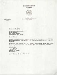 Letter from Dwight C. James to Elise Davis-McFarland, February 5, 1991