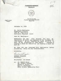 Letter from Barbara Kingston to Janice Washington, December 31, 1990