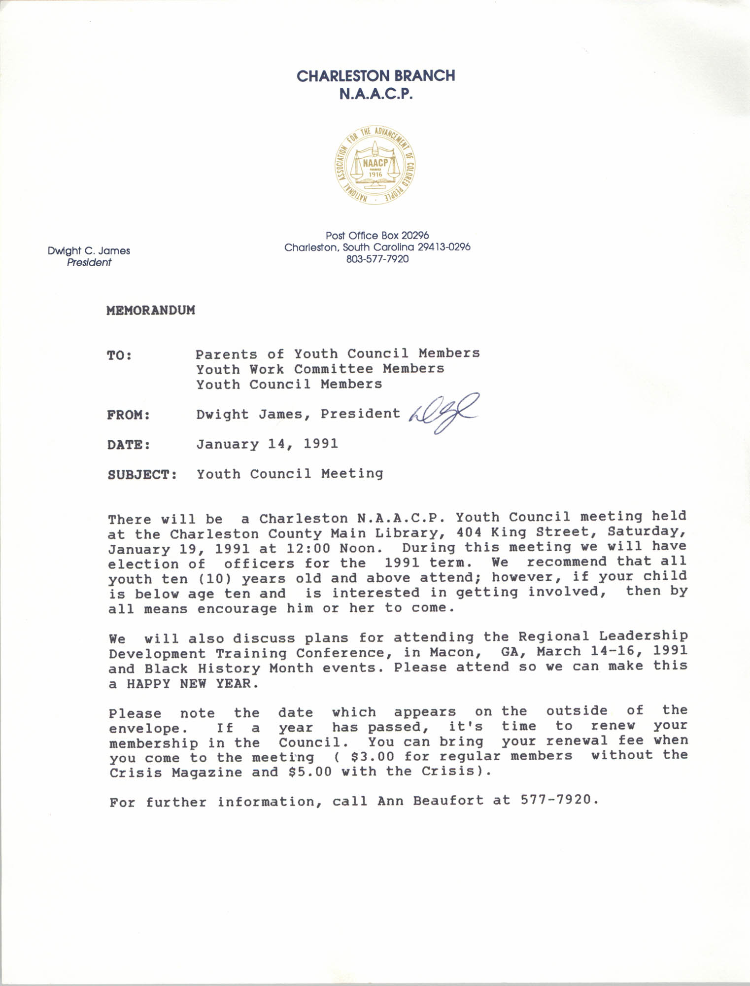 Memorandum, Dwight C. James,  Youth Council Meeting, January 14, 1991