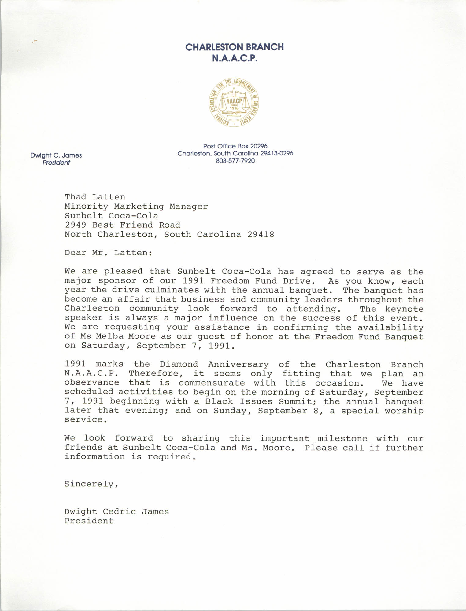 Letter from Dwight James to Thad Latten, 1991