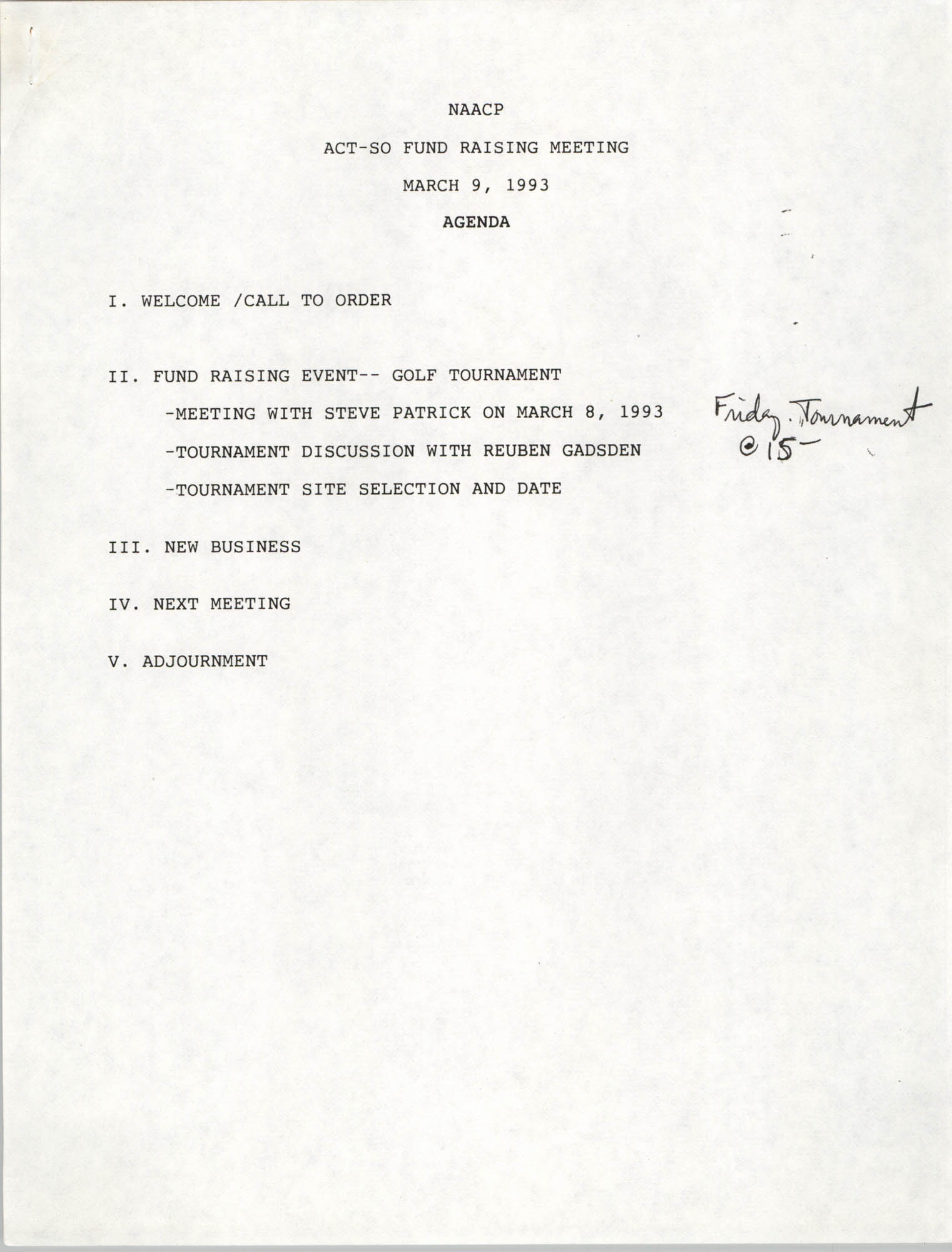Agenda, ACT-SO Fundraising Meeting, NAACP, March 9, 1993