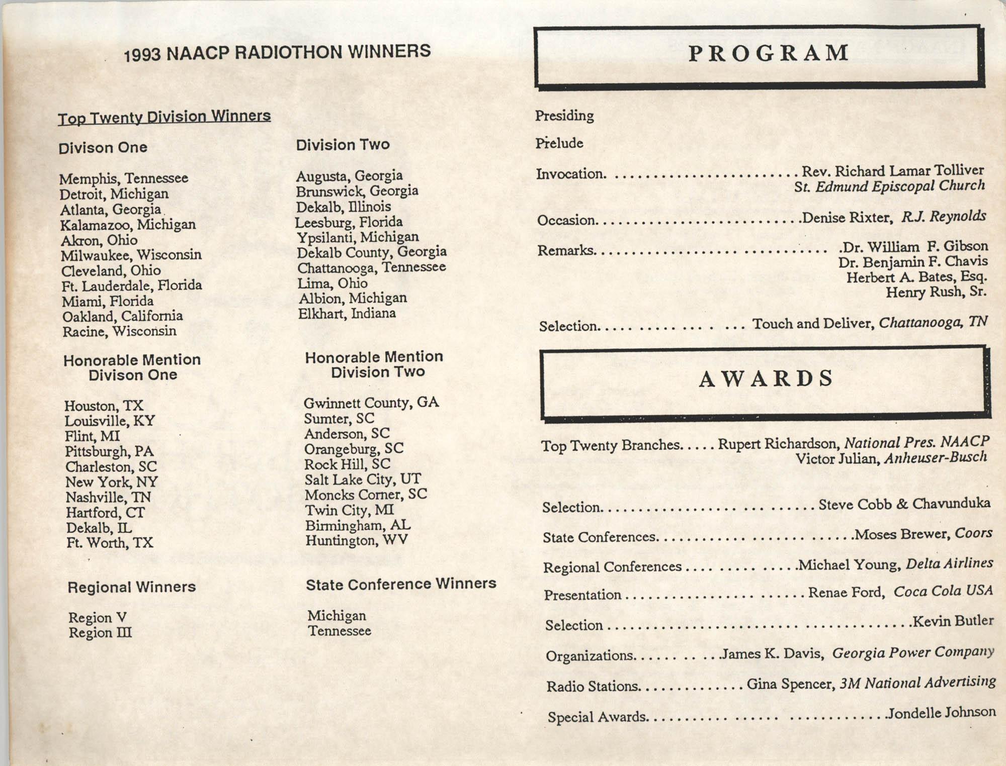 NAACP Radiothon Winners, 1993