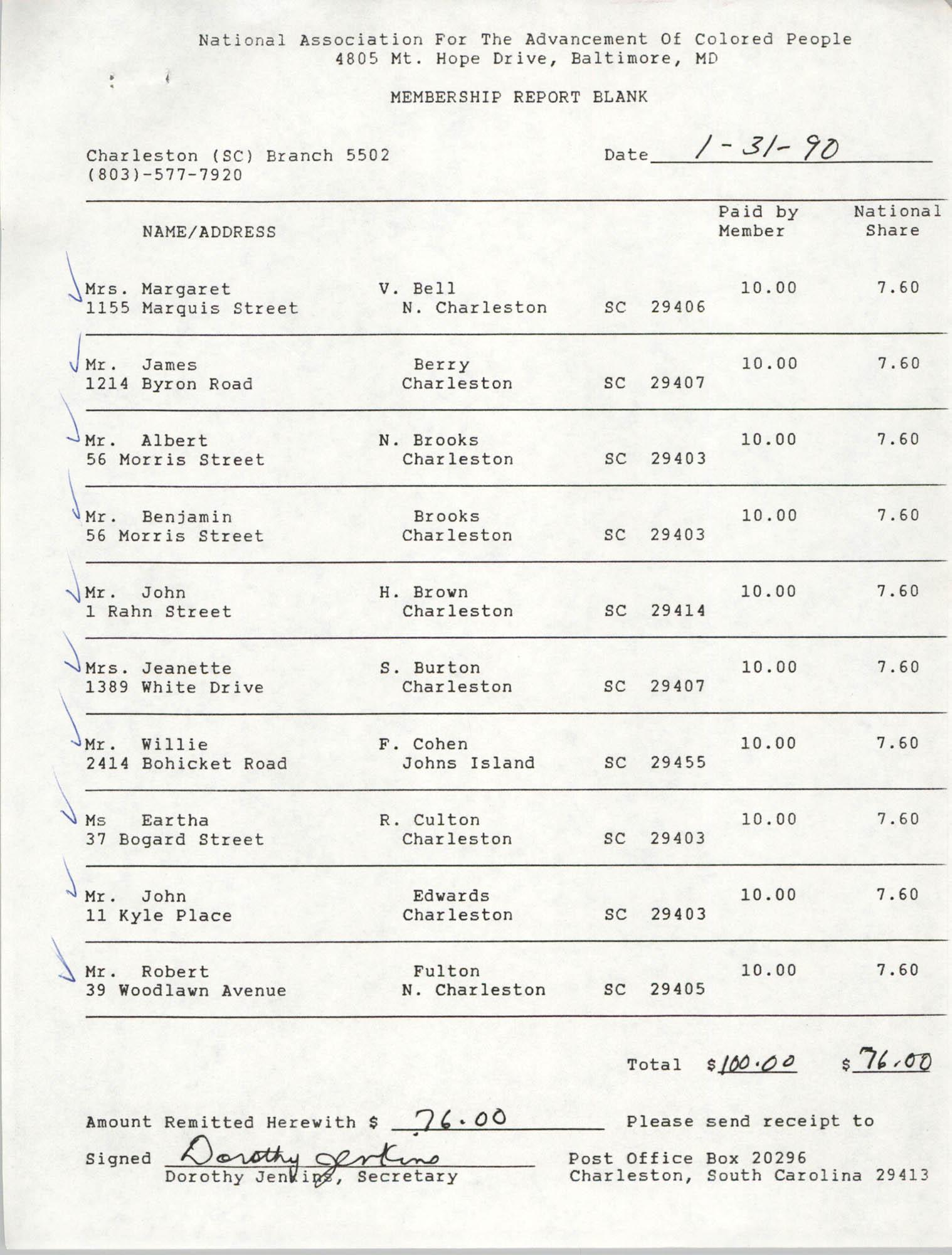 Membership Report Blank, Charleston Branch of the NAACP, Dorothy Jenkins, January 31, 1990