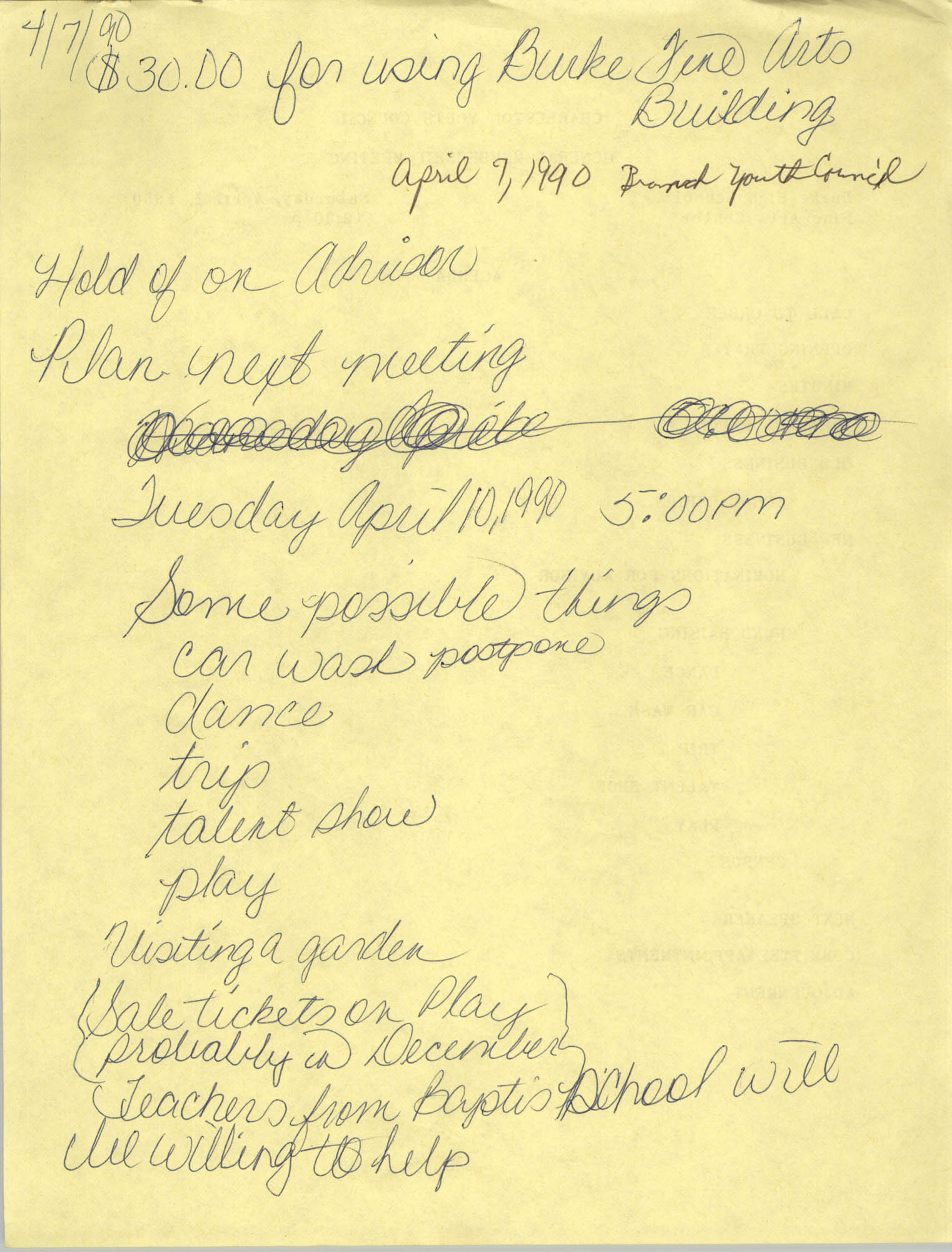 Handwritten Minutes, General Membership Meeting, Charleston Youth Council, April 7, 1990