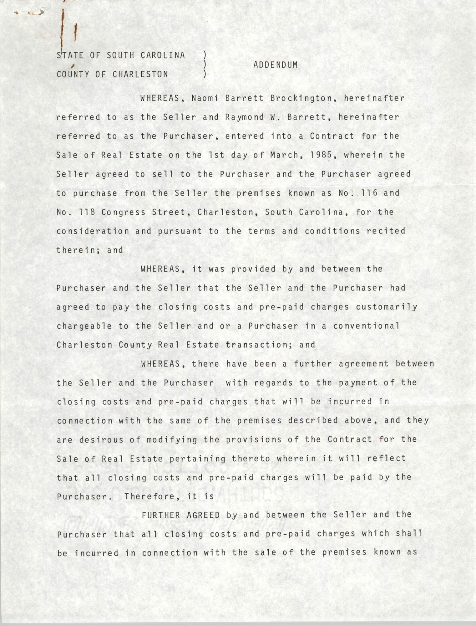 Addendum, State of South Carolina, County of Charleston, Naomi Barrett Brockington and Raymond Barrett, March 16, 1985