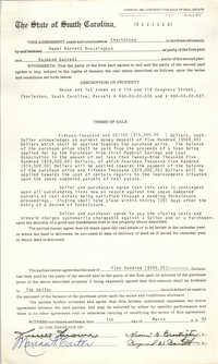Contract for Sale of Real Estate, State of South Carolina, Naomi Barrett Brockington and Raymond Barrett, March 1, 1985