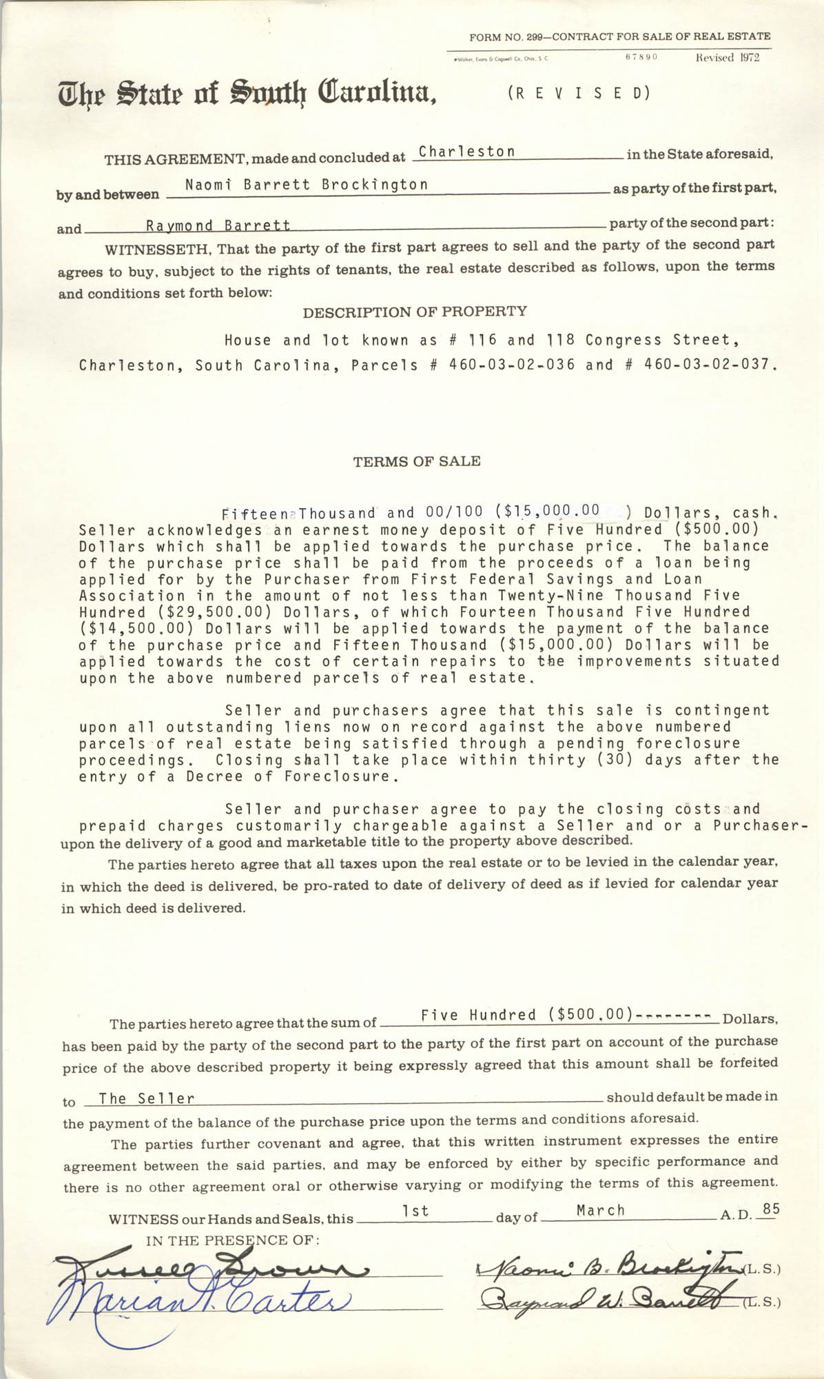 Contract for Sale of Real Estate, State of South Carolina, Naomi Barrett Brockington and Raymond Barrett, March 1, 1985