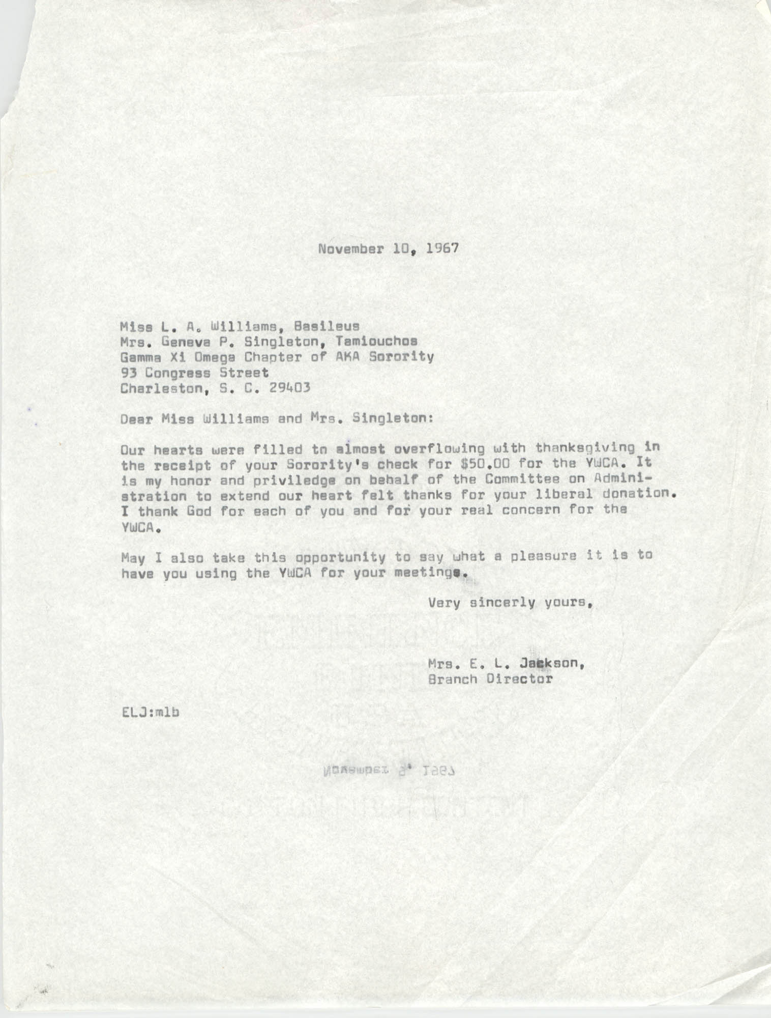 Letter from Christine O. Jackson and L. A. Williams, November 10, 1967