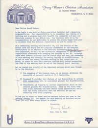 Letter from Mrs. John C. Hawk to Board Members of the Y.W.C.A., November 29, 1967