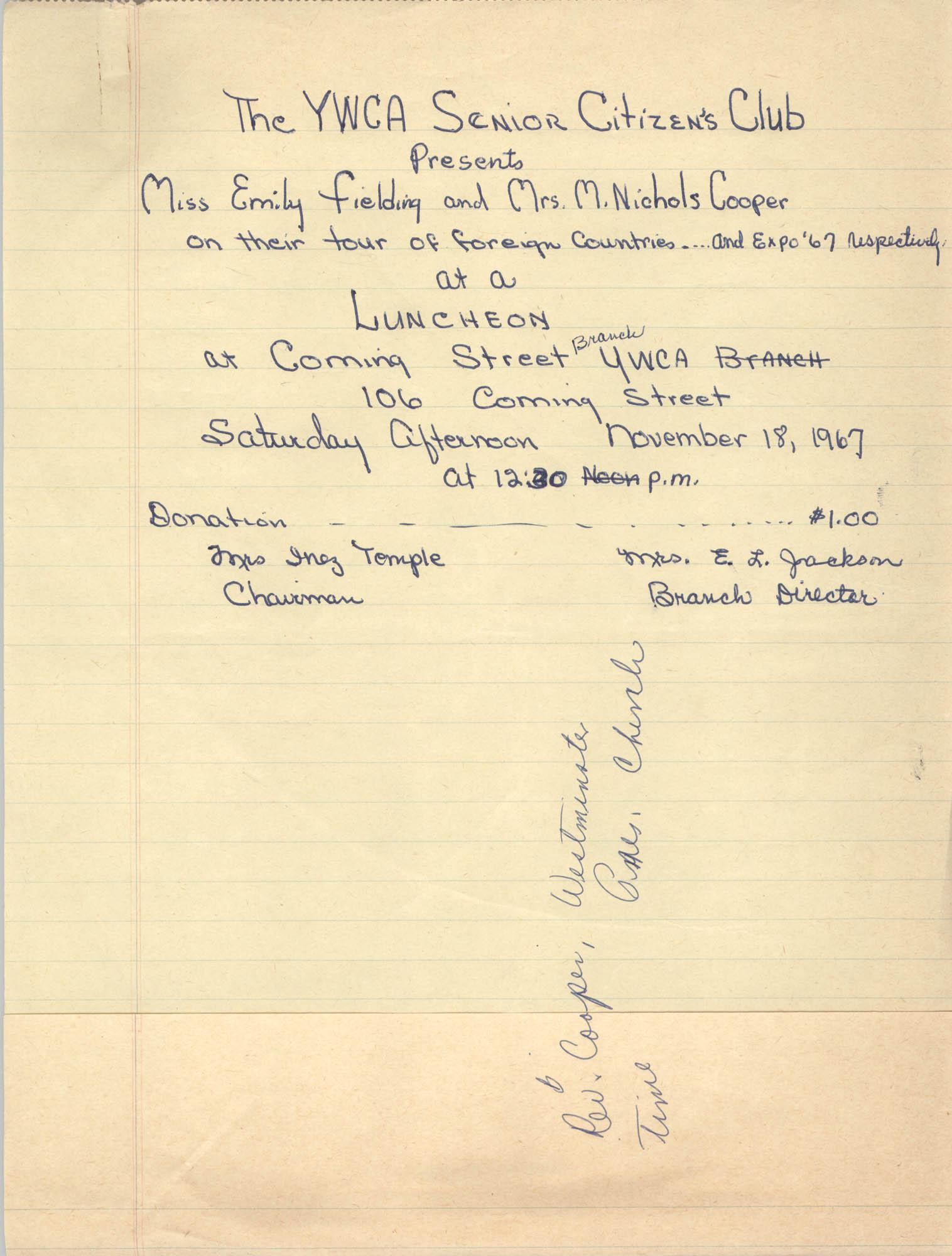 Flyer, Y.W.C.A. Senior Citizen's Club Luncheon, Coming Street Y.W.C.A., November 18, 1967