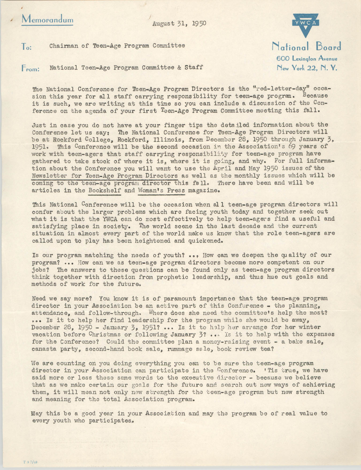 National Board of the Y.W.C.A. Memorandum, August 31, 1950