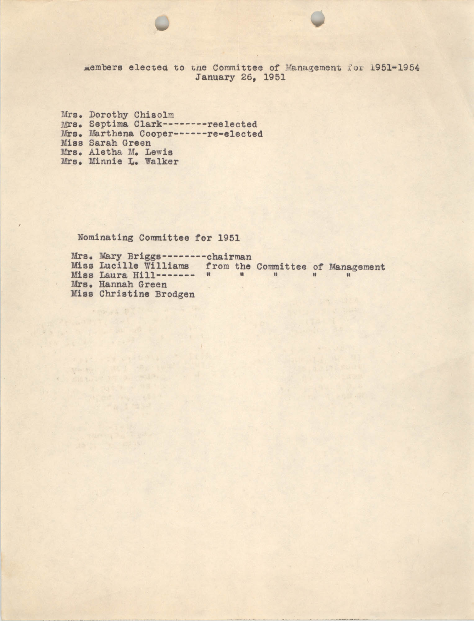 Y.W.C.A. Members Elected to Committee of Management and Nominating Committee, 1951