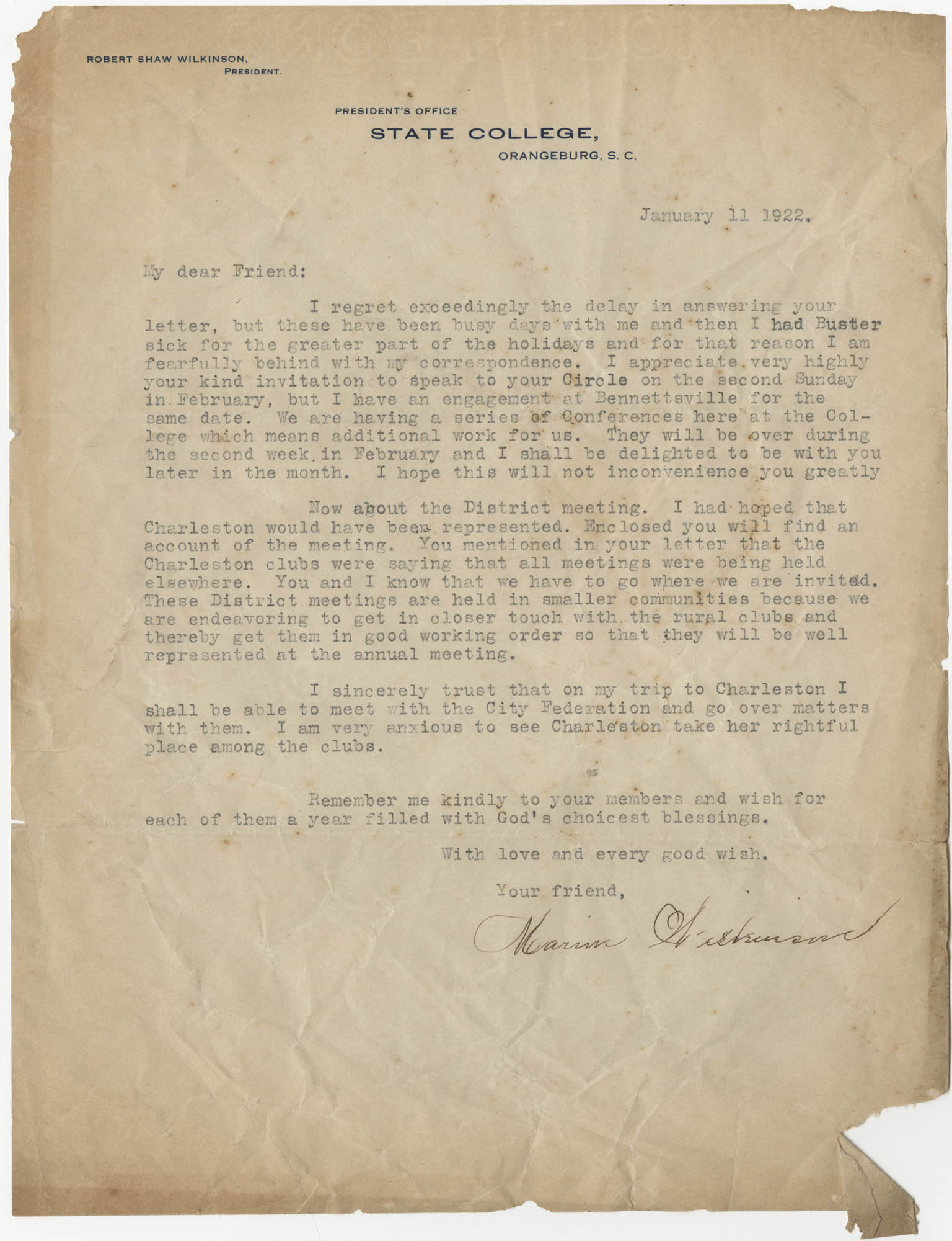 Letter from the Office of Robert Shaw Wilkinson, January 11, 1922