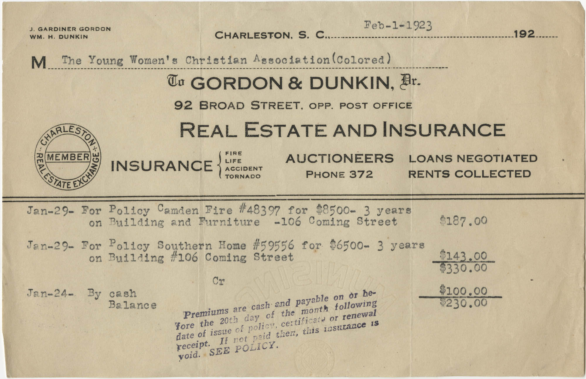 Insurance Statement, The Young Women's Colored Christian Association of Charleston, S. C., February 1, 1923