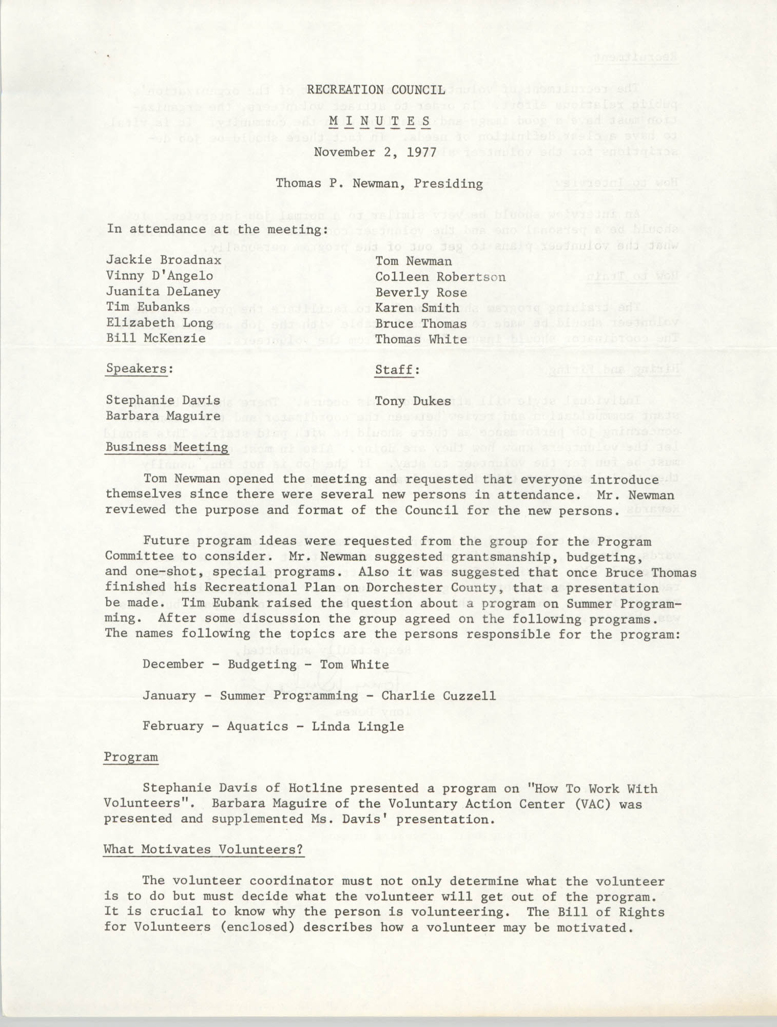 Minutes to the Recreation Council, November 2, 1977