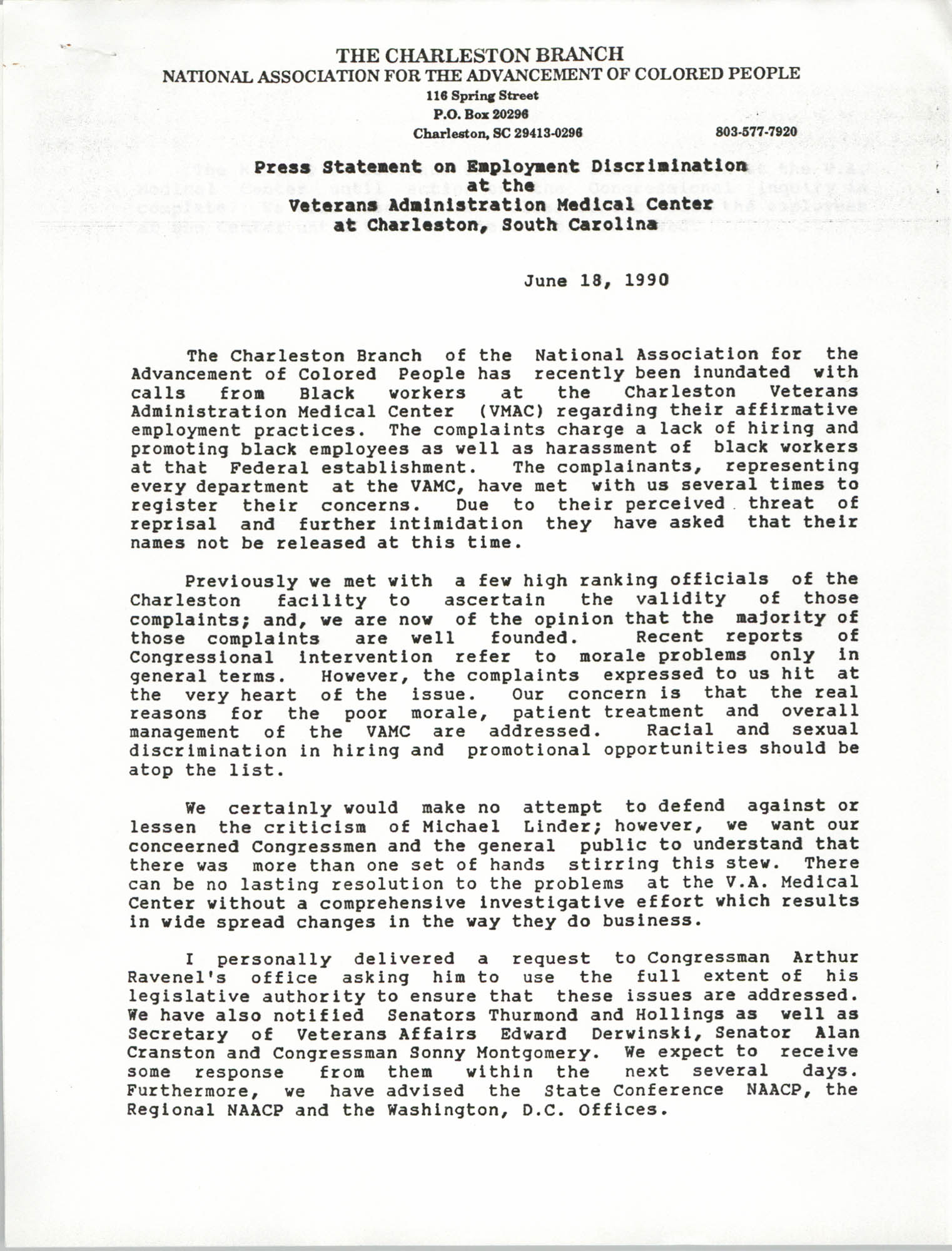 Press Statement, National Association for the Advancement of Colored People, June 18, 1990