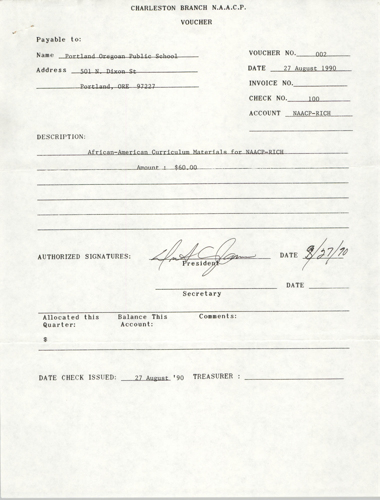 Voucher, National Association for the Advancement of Colored People, Portland, Oregon Public School, Dwight C. James, August 27, 1990
