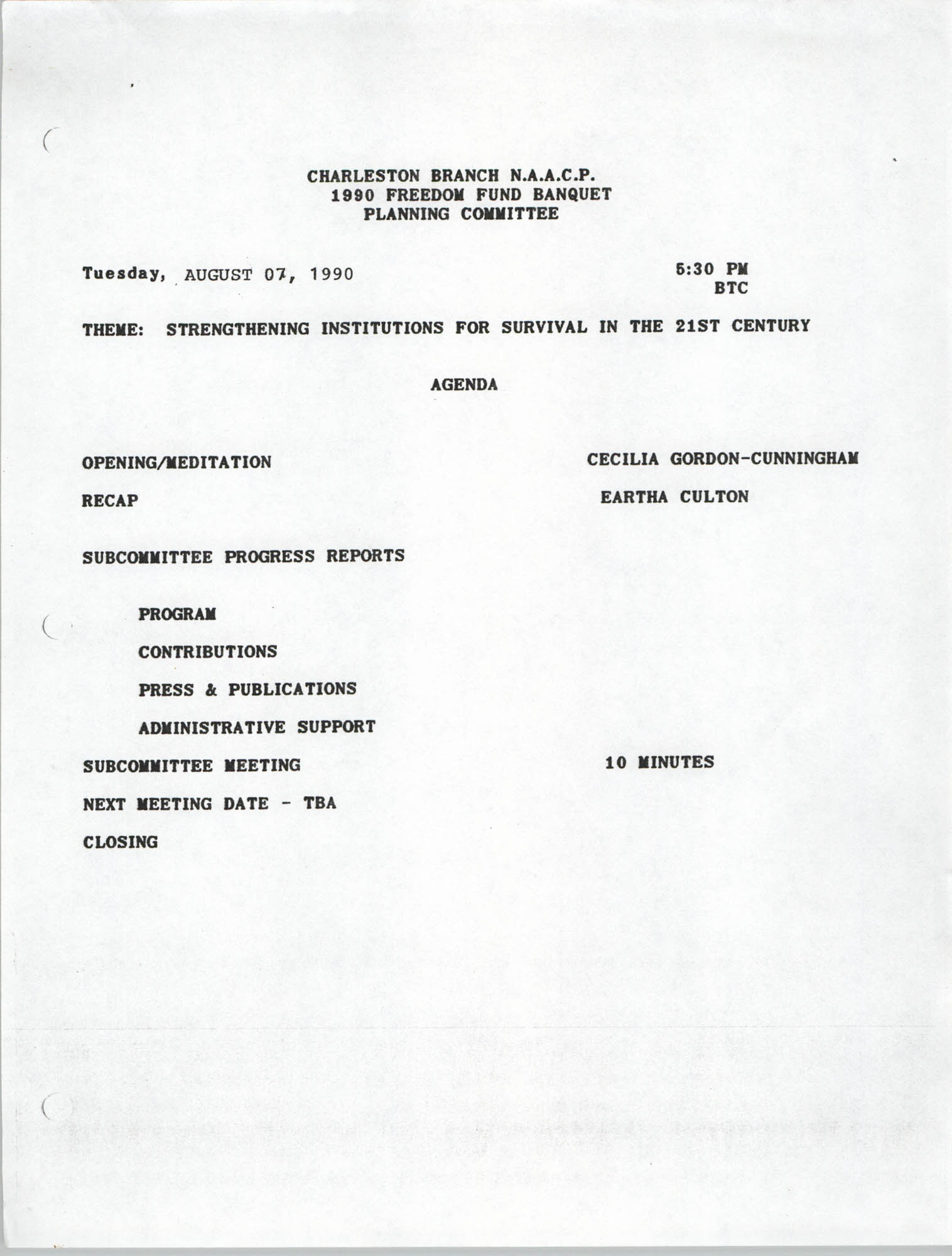 Agenda, Planning Committee, 1990 Freedom Fund Banquet, National Association for the Advancement of Colored People, August 7, 1990