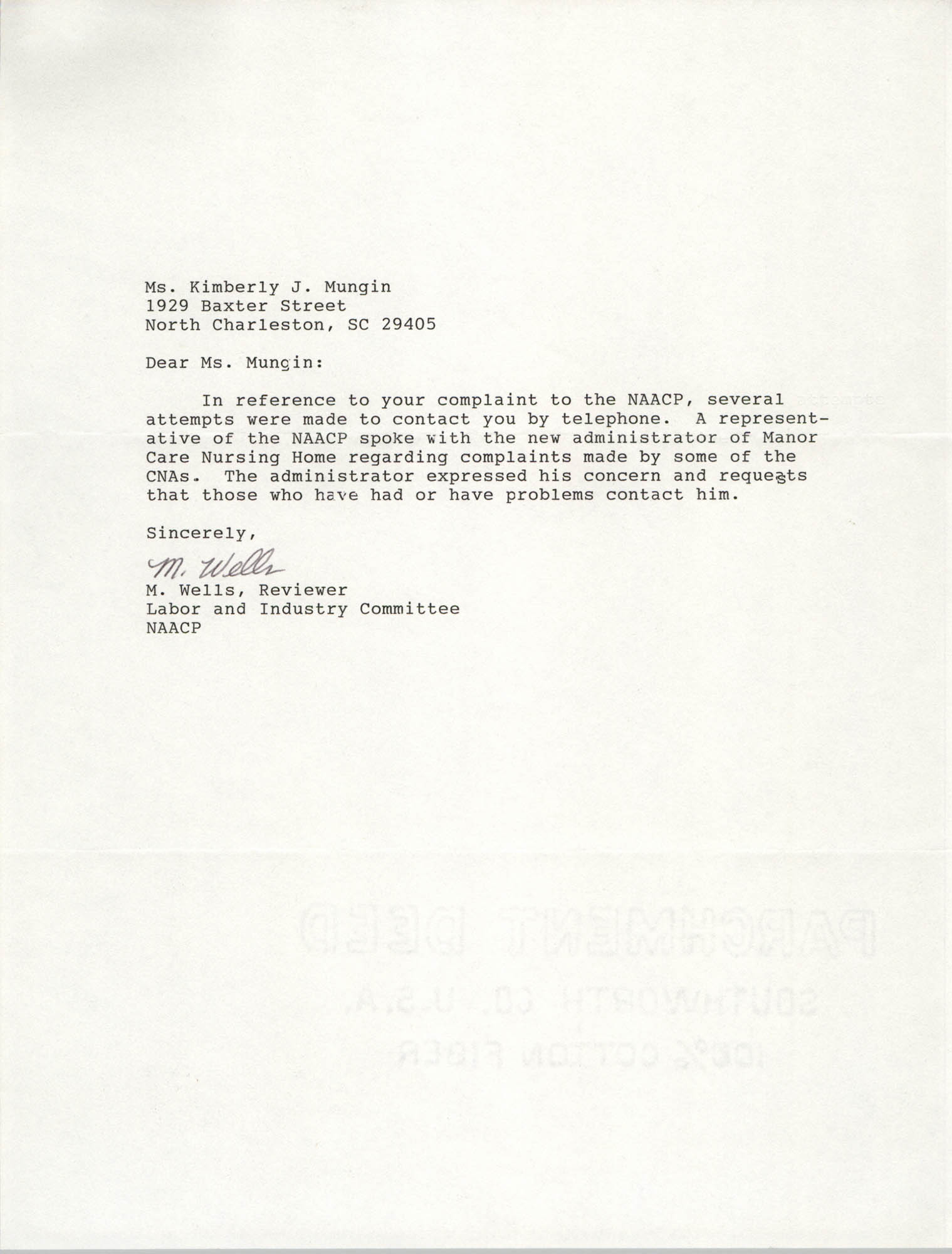 Letter from M. Wells to Kimberly J. Mungin
