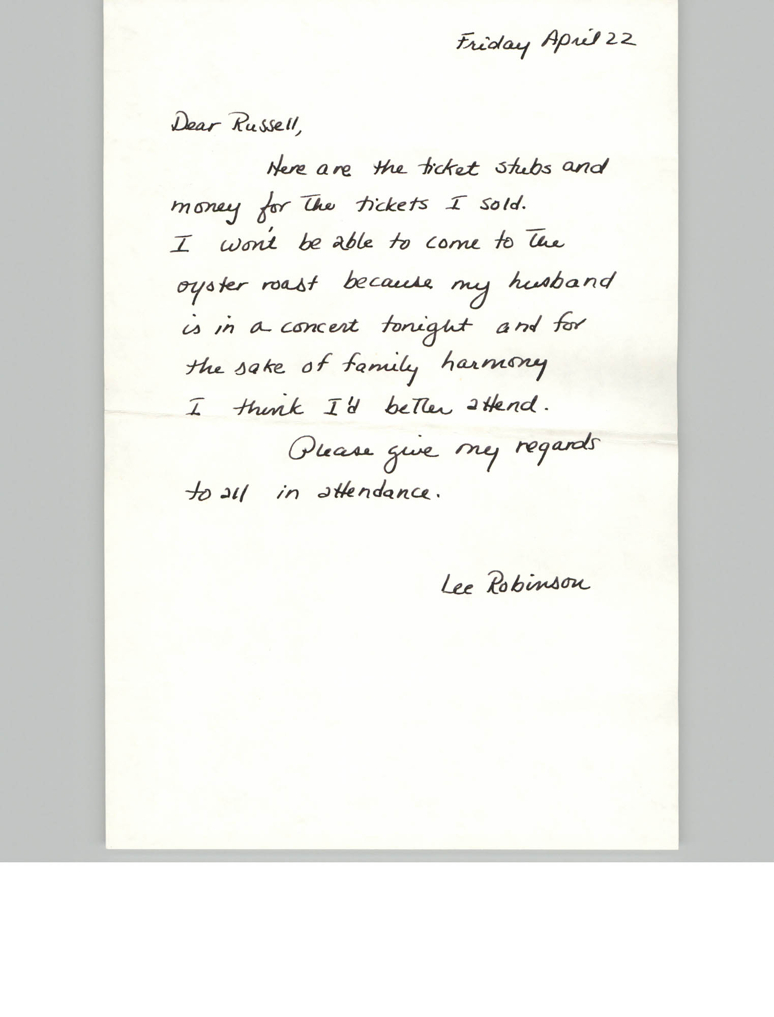 Handwritten letter from Lee Robinson to Russell Brown, April 22