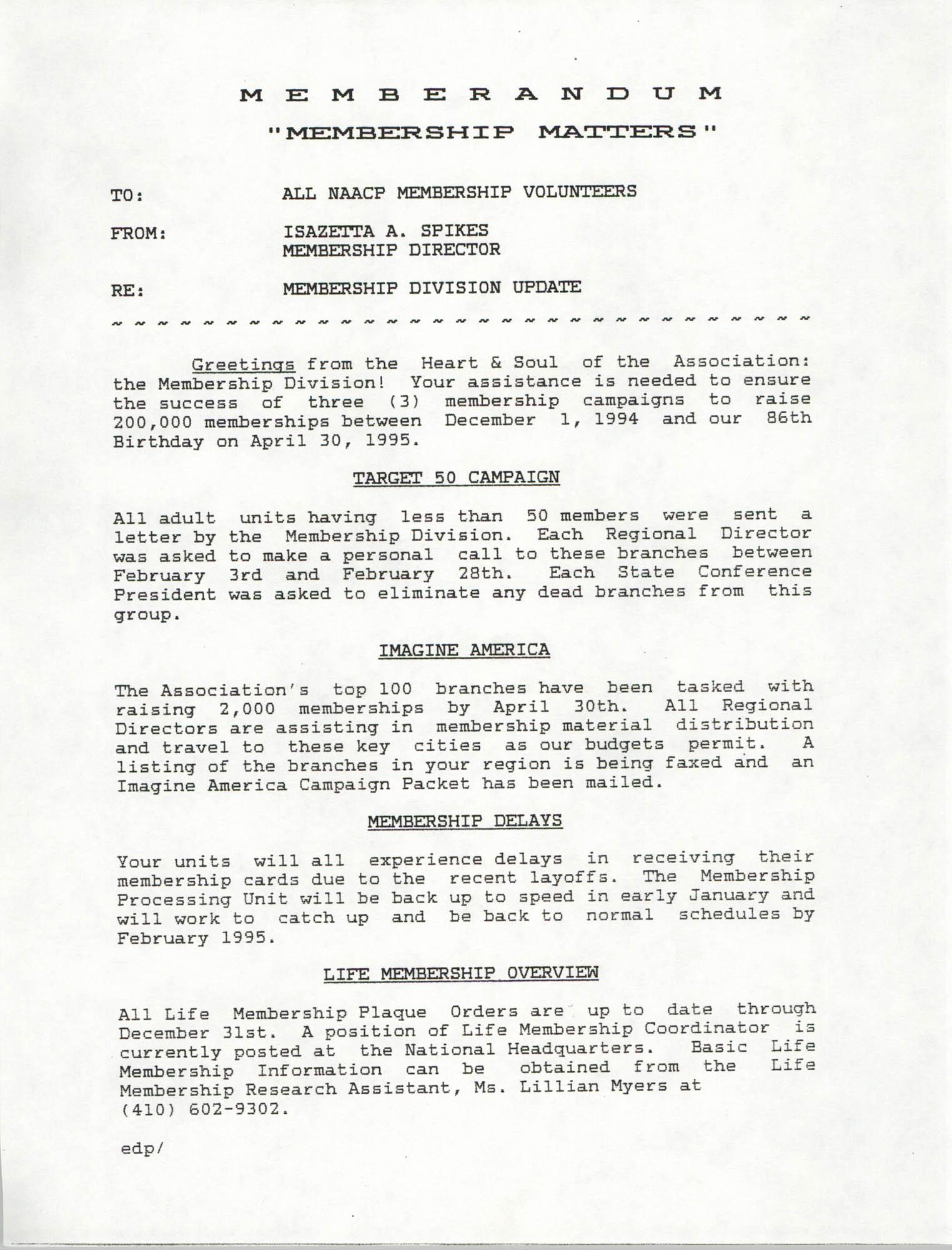 Memorandum, Isazetta A. Spikes