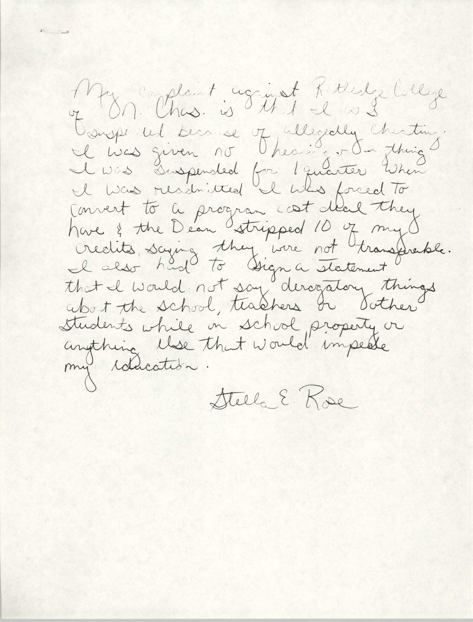Handwritten letter by Stella E. Rose