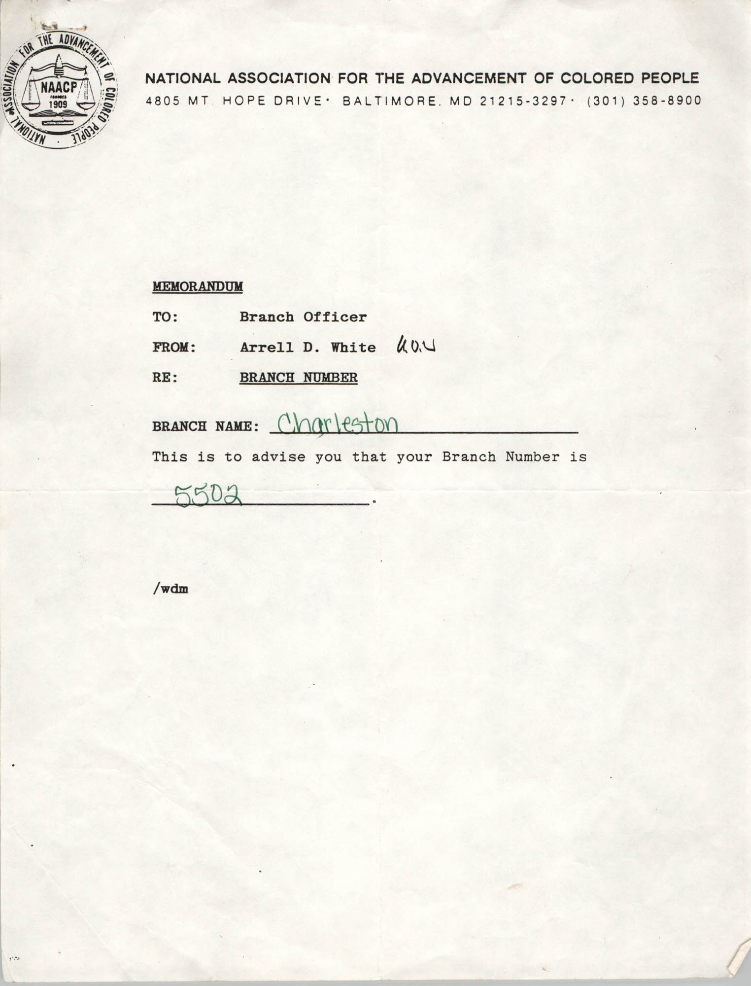 Memorandum, Arrell D. White
