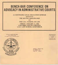 Bench-Bar Conference on Advocacy in Administrative Courts, Continuing Education Seminar Pamphlet, January 11, 1985, Russell Brown