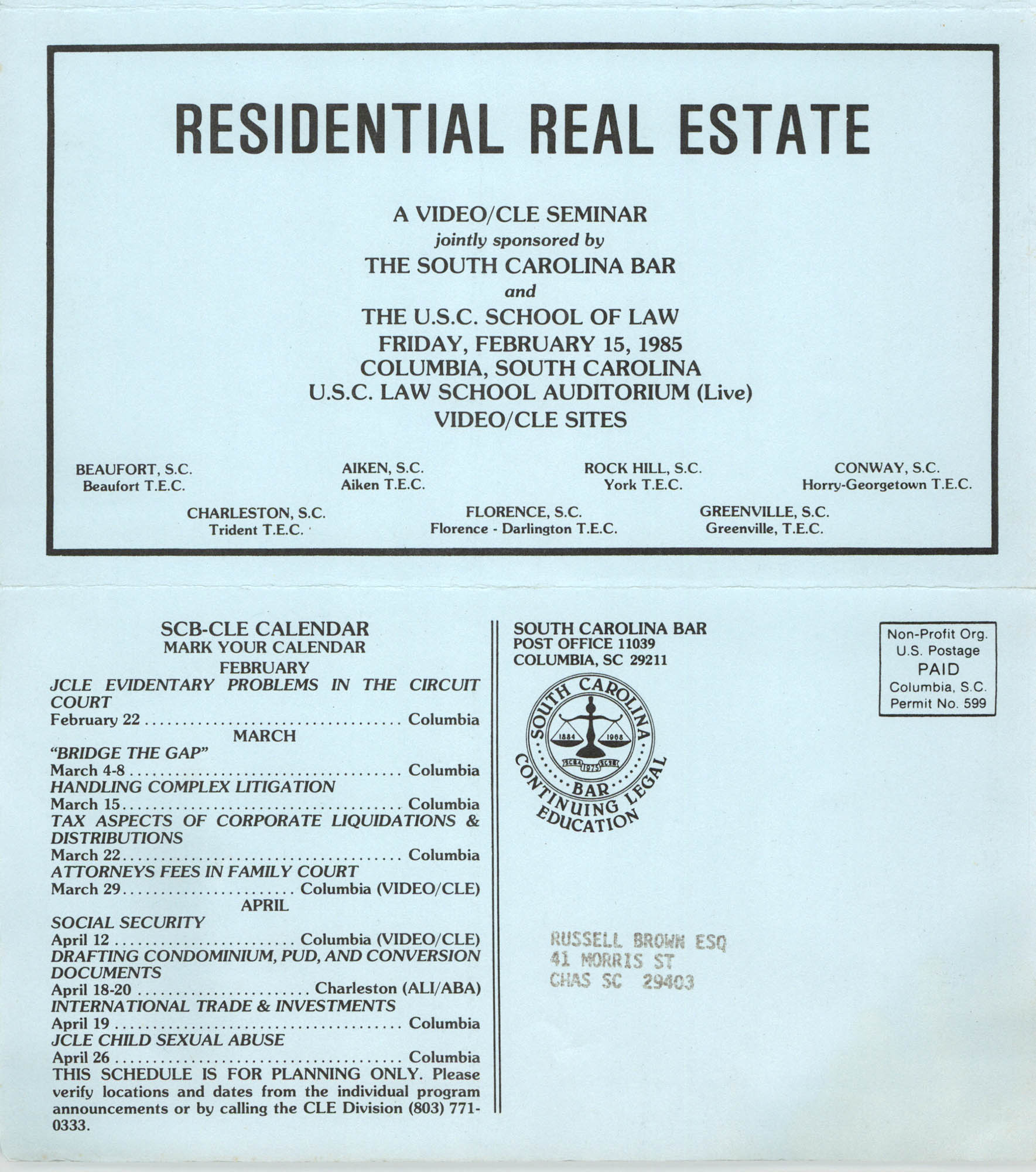 Understanding Residential Real Estate, Video/CLE Seminar Pamphlet, February 15, 1985, Russell Brown