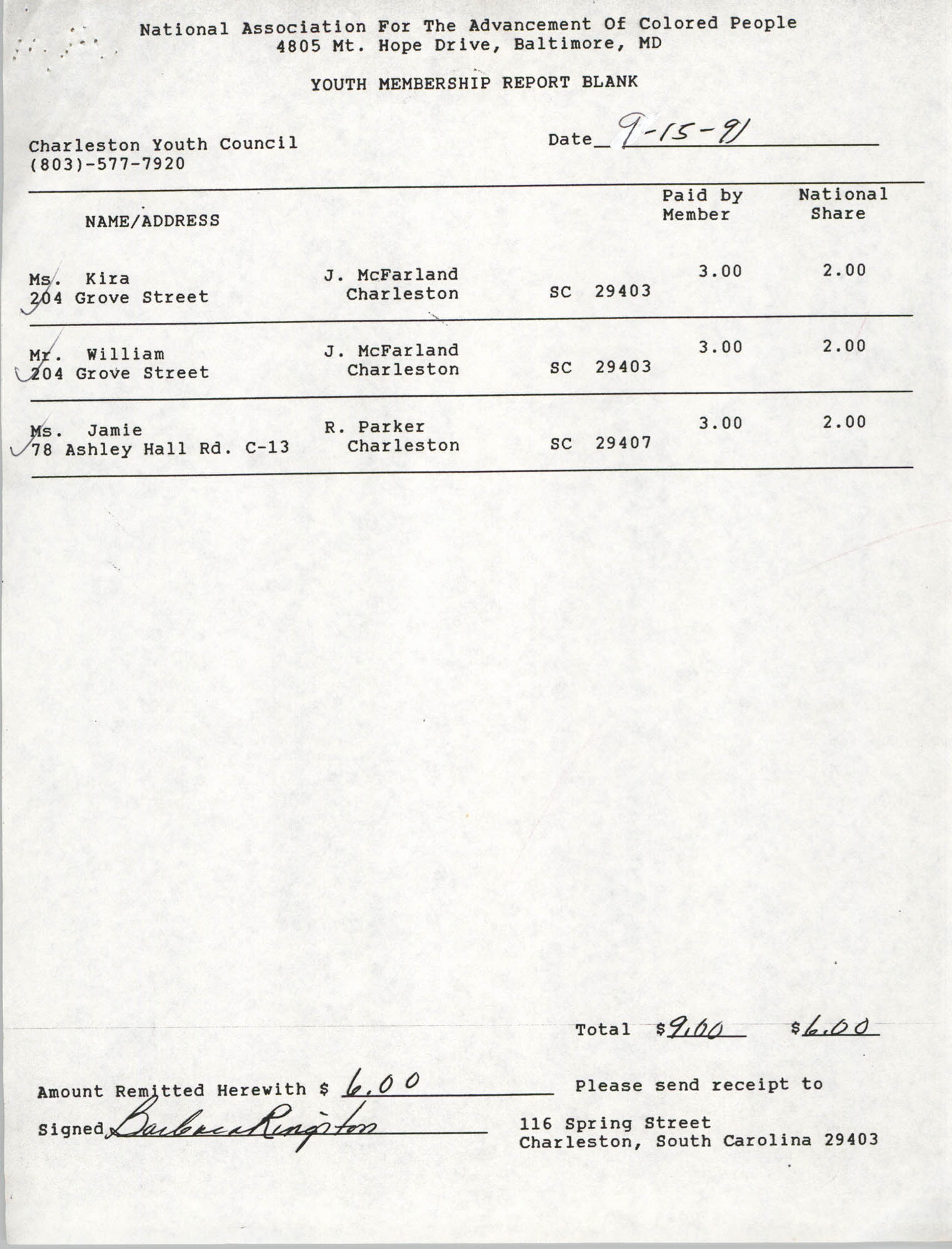 Youth Membership Report Blank, Charleston Youth Council, NAACP, Barbara Kingston, September 31, 1991