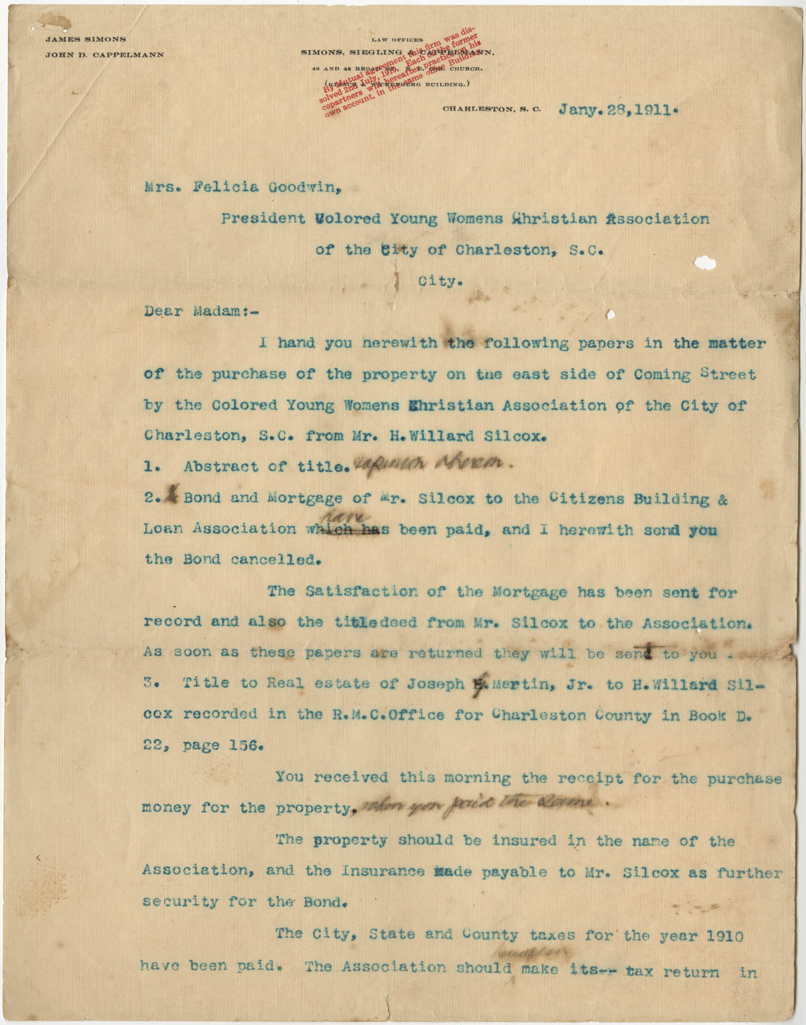 Letter from James Simons to Felicia Goodwin, January 28, 1911