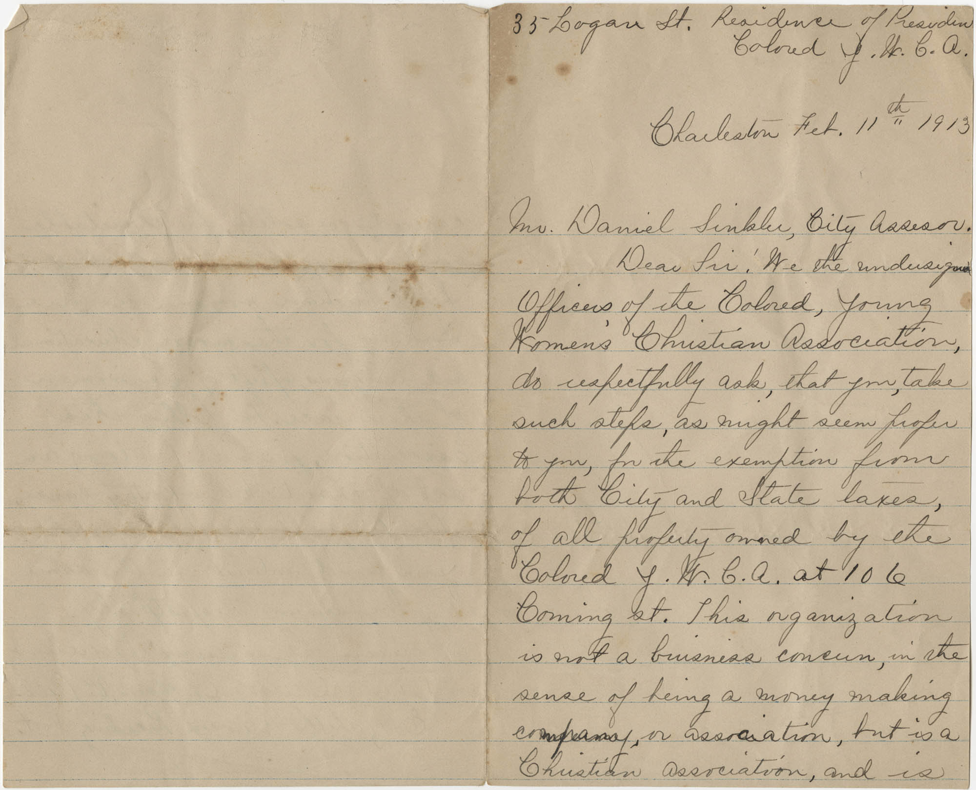 Letter from Felicia Goodwin to Daniel Sinkler, February 11, 1913