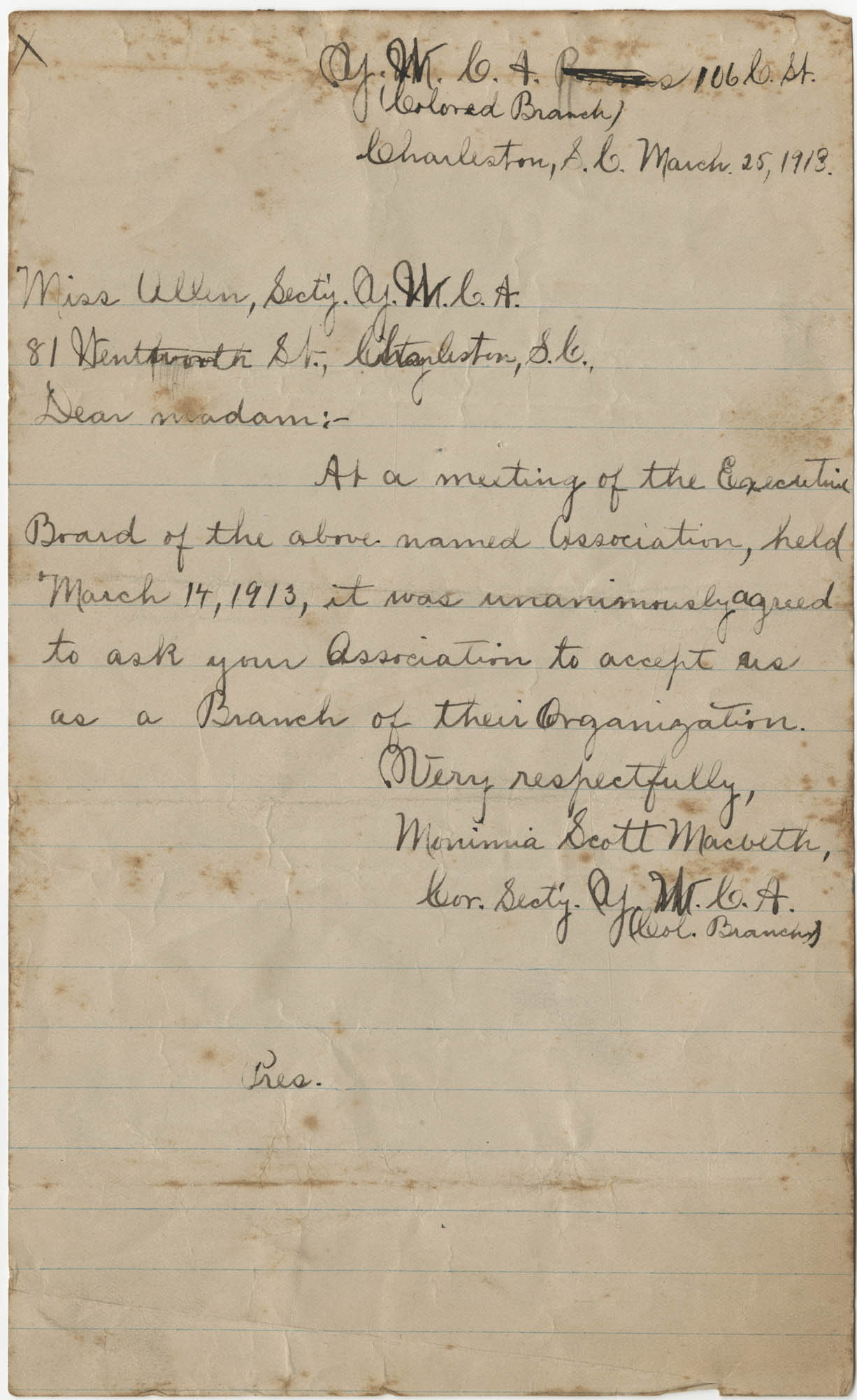 Letter from Monimia Scott Macbeth to Miss Allen, March 25, 1918