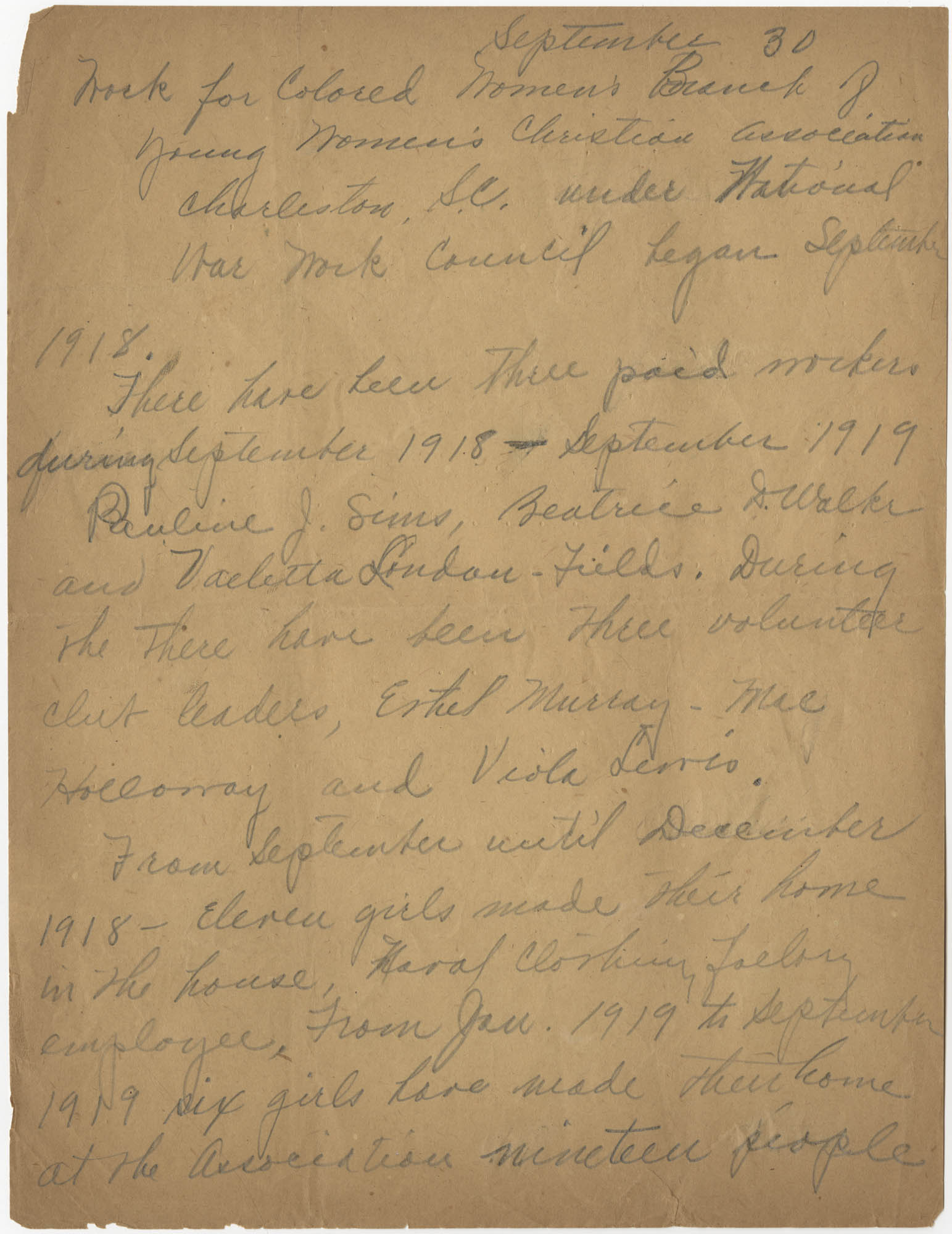 Minutes to the National War Work Council, Coming Street Y.W.C.A., September 30, 1918