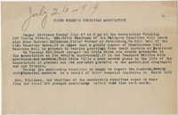 Coming Street Y.W.C.A. Vesper Service Announcement, July 26, 1919