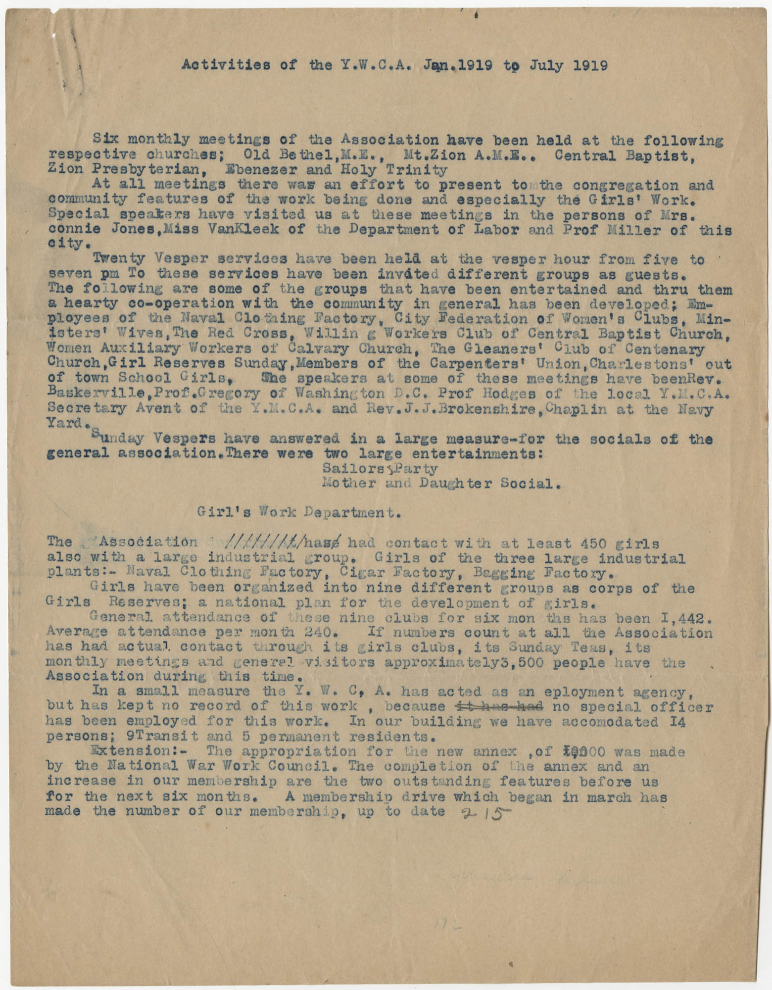 Activities of the Y.W.C.A., January to July 1919