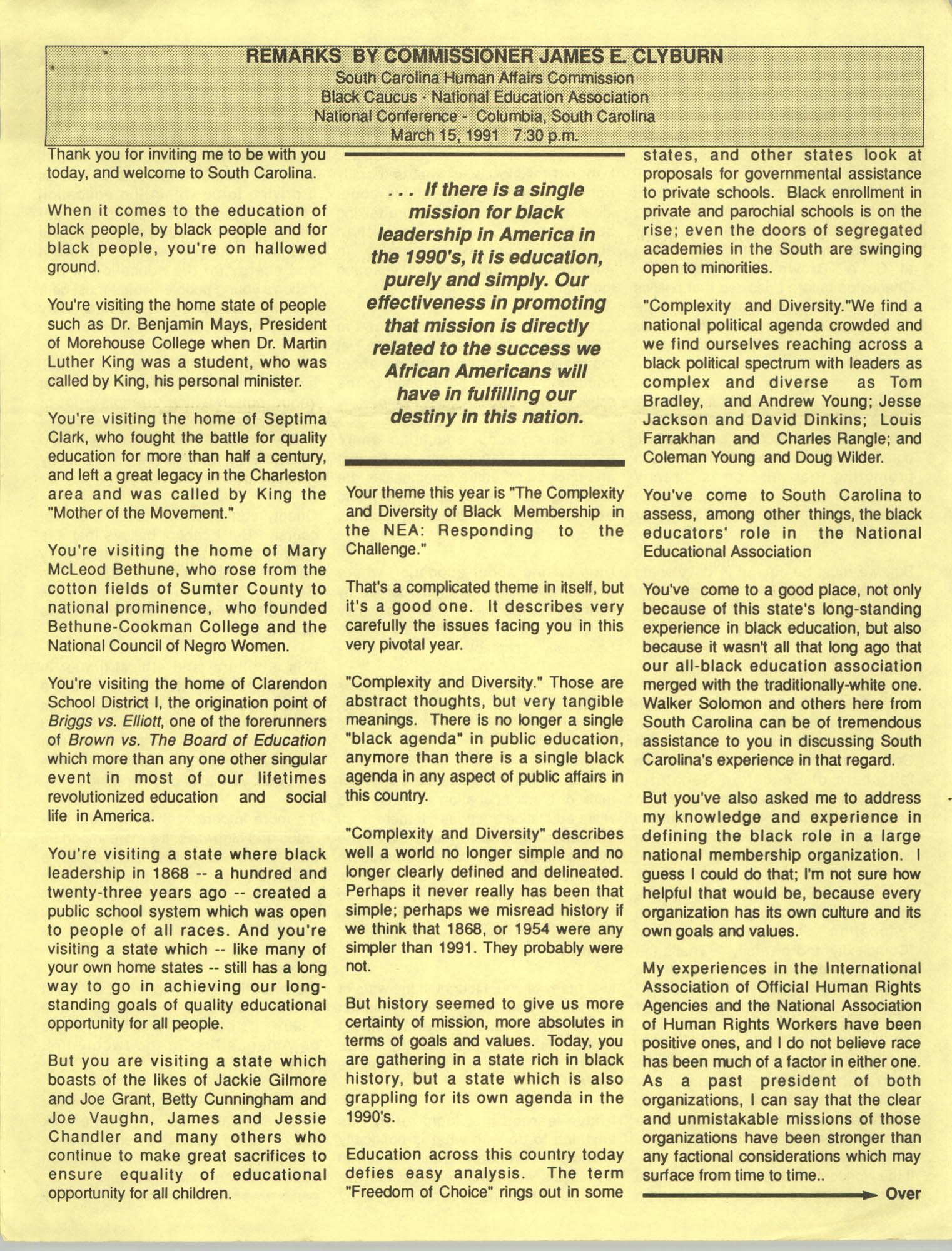 Remarks by Commissioner James E. Clyburn, South Carolina Human Affairs Commission, Black Caucus-National Education Association, National Conference, Columbia, South Carolina, March 15, 1991