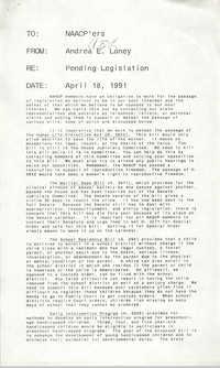 Memorandum, Andrea E. Loney, April 18, 1991