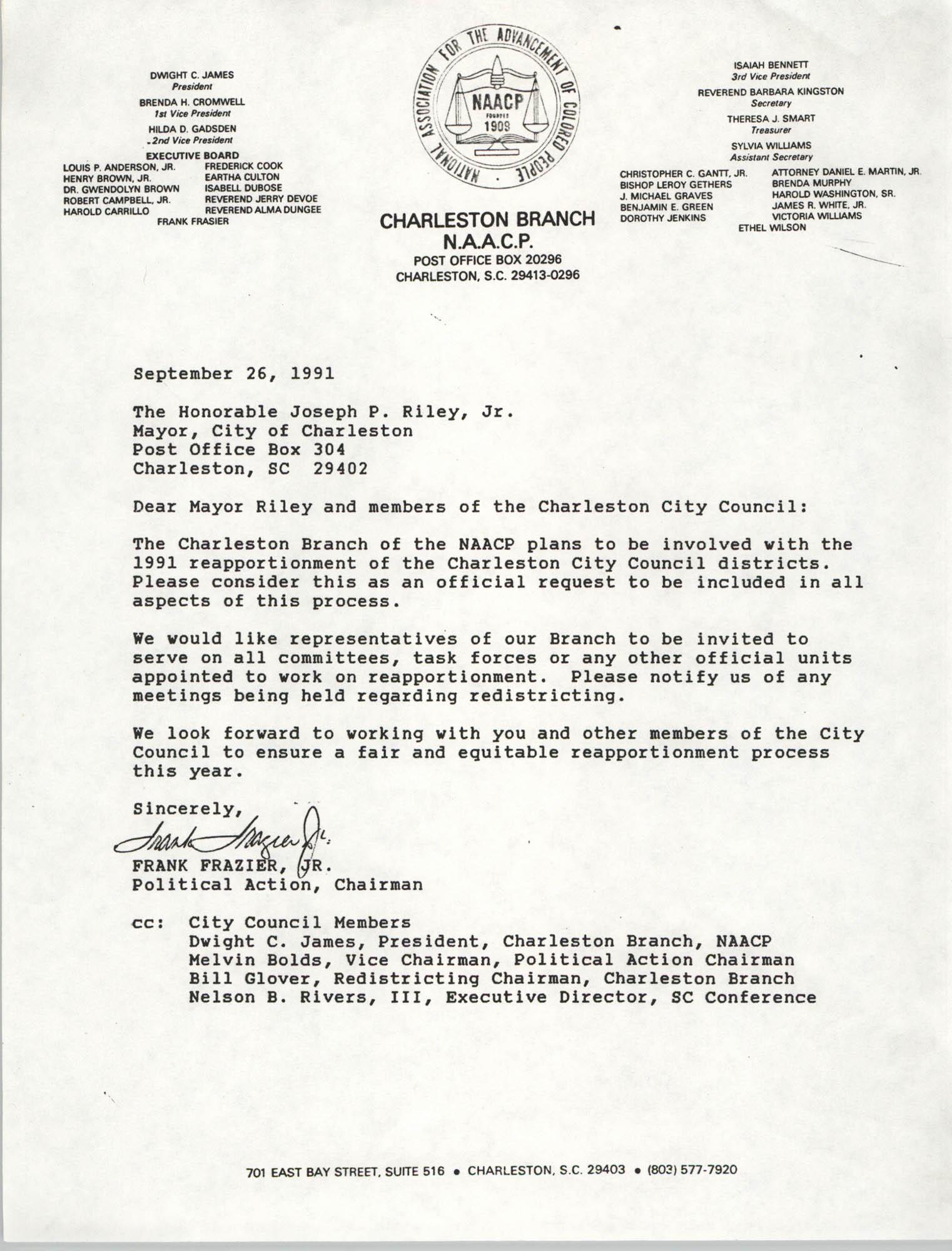 Letter from Frank Frazier, Jr. to Joseph P. Riley, Jr., September 26, 1991