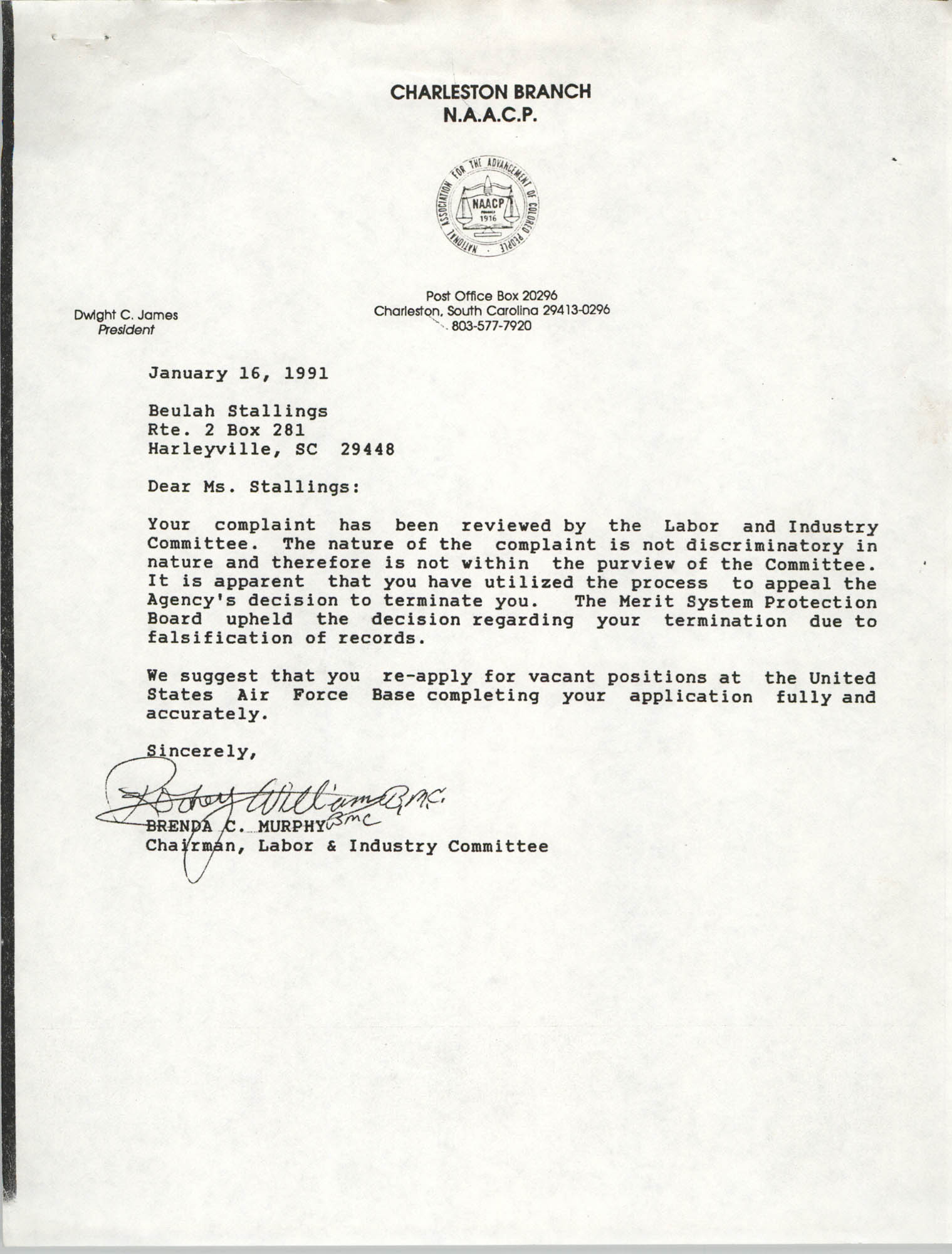 Letter from Brenda C. Murphy to Beulah Stallings, January 16, 1991