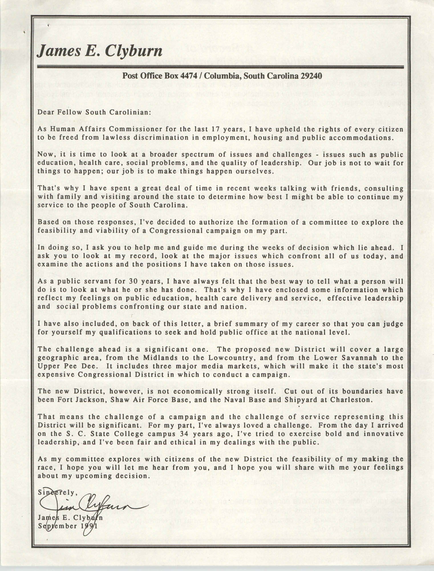 Letter from James E. Clyburn  to  South Carolinians, September 1991