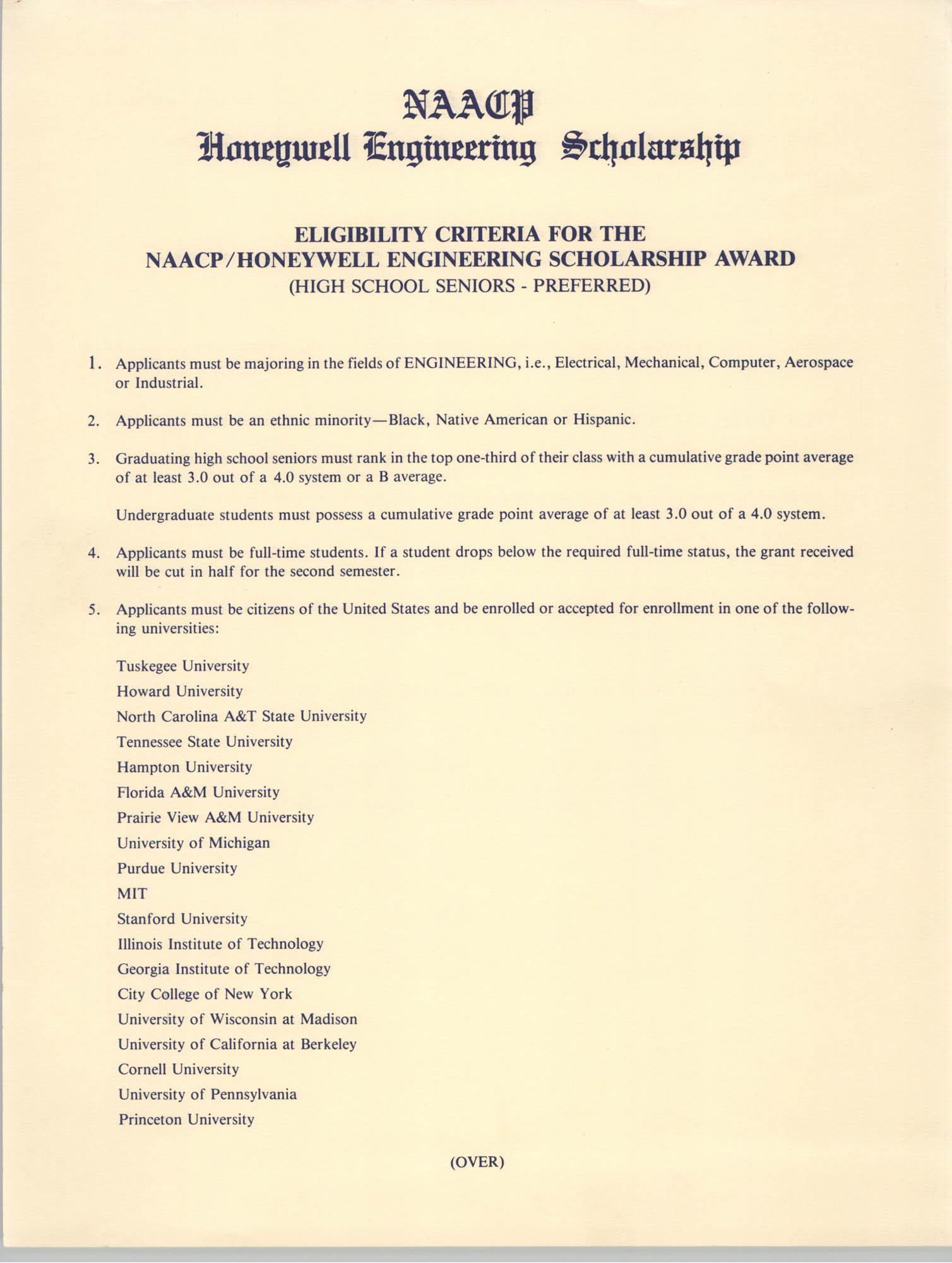Application Instructions, NAACP Honeywell Engineering Scholarship