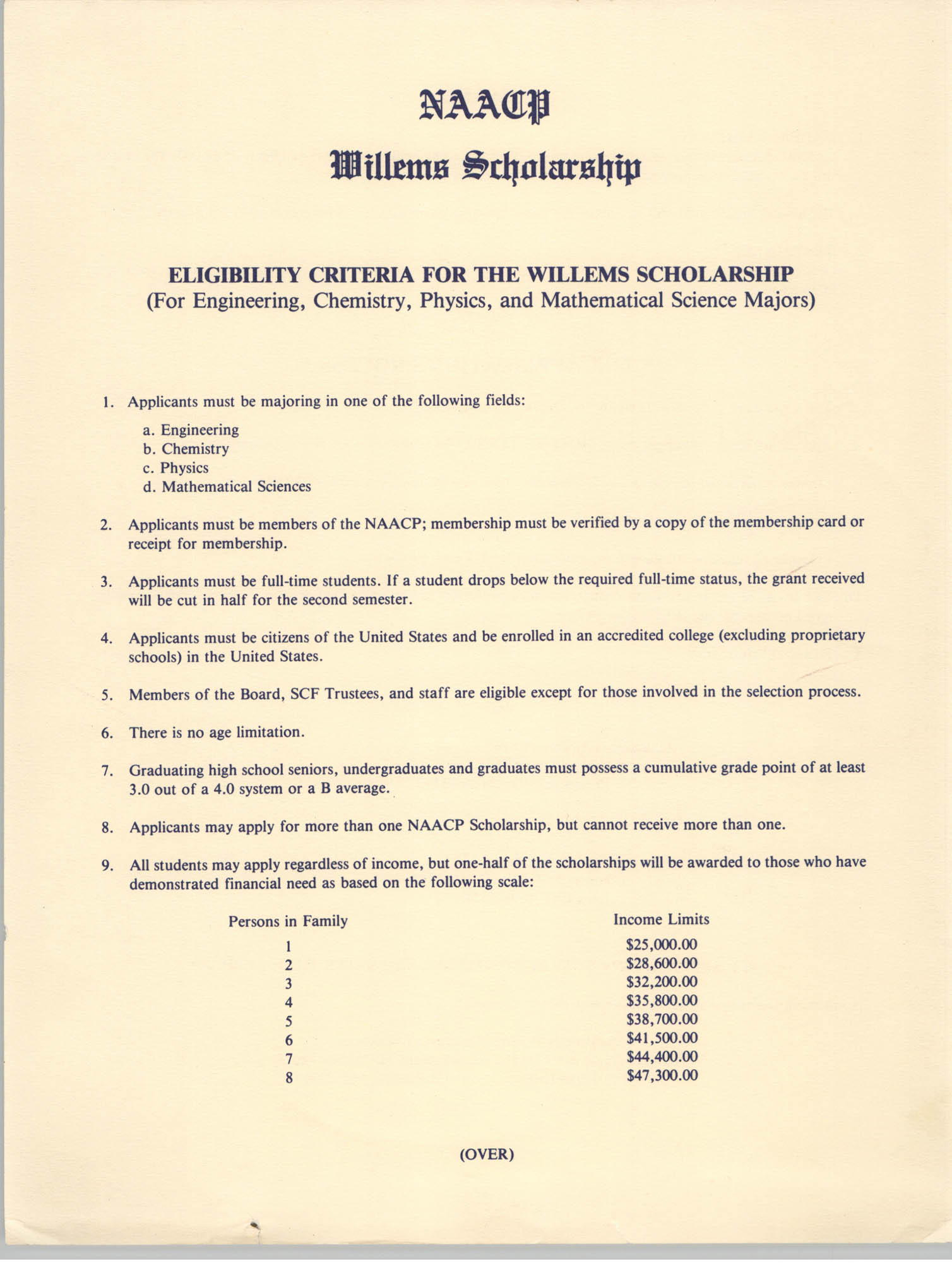 Application Instructions, NAACP Willems Scholarship