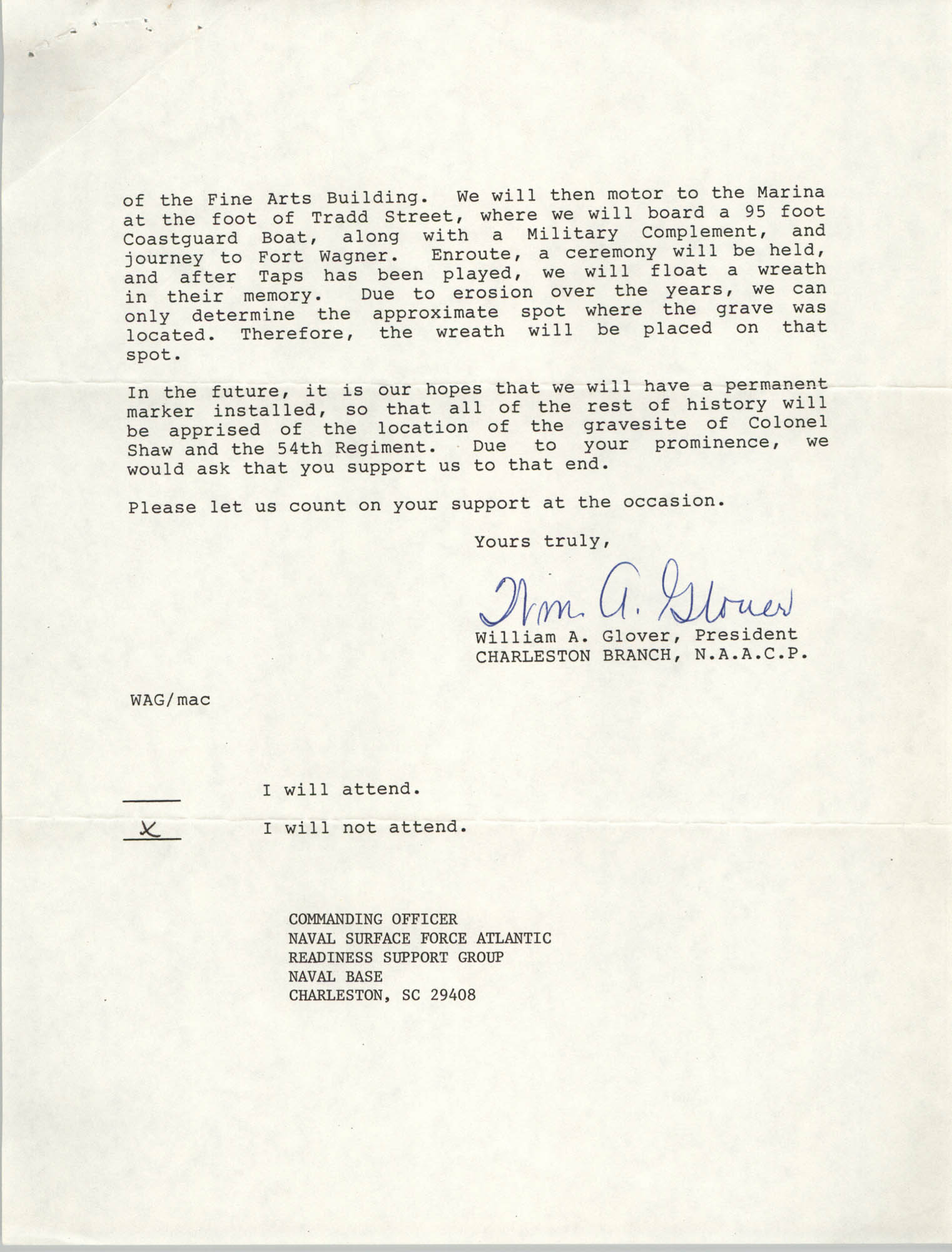 Response from Commanding Officer, Letter from William A. Glover to Friend, May 6, 1987