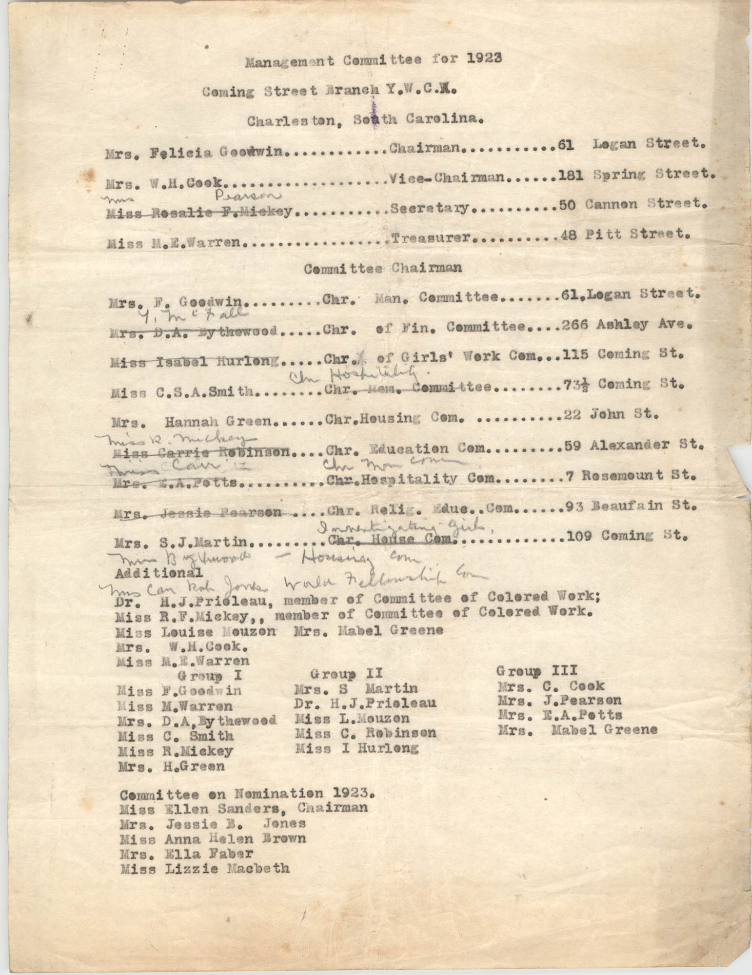 Committee of Management for 1923, Coming Street Y.W.C.A.