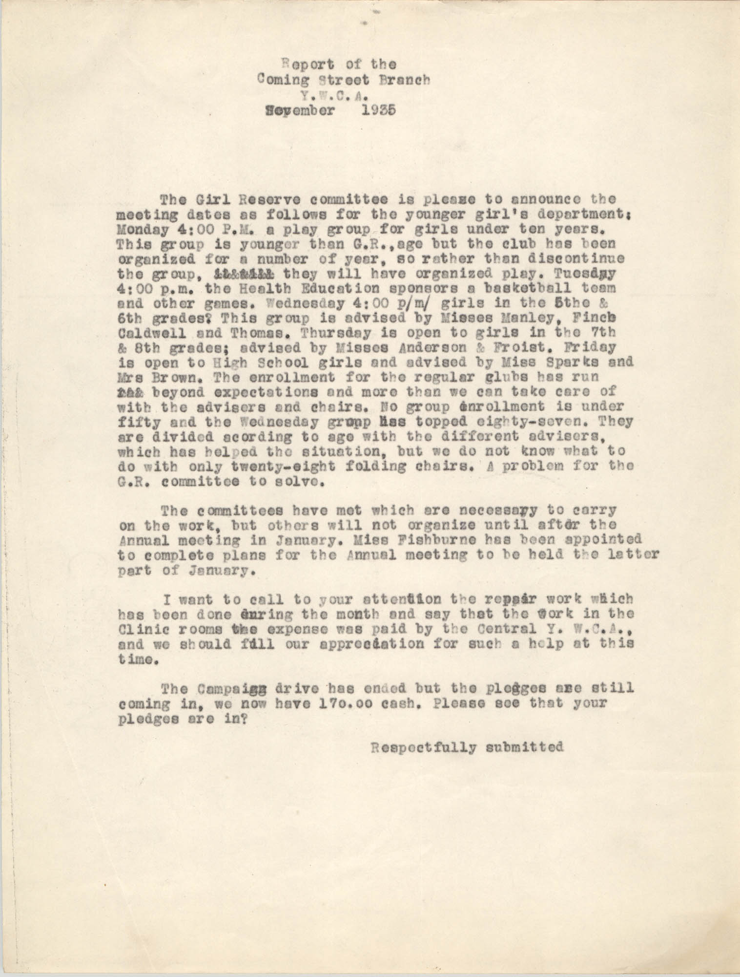 Monthly Report for the Coming Street Y.W.C.A., September 1935
